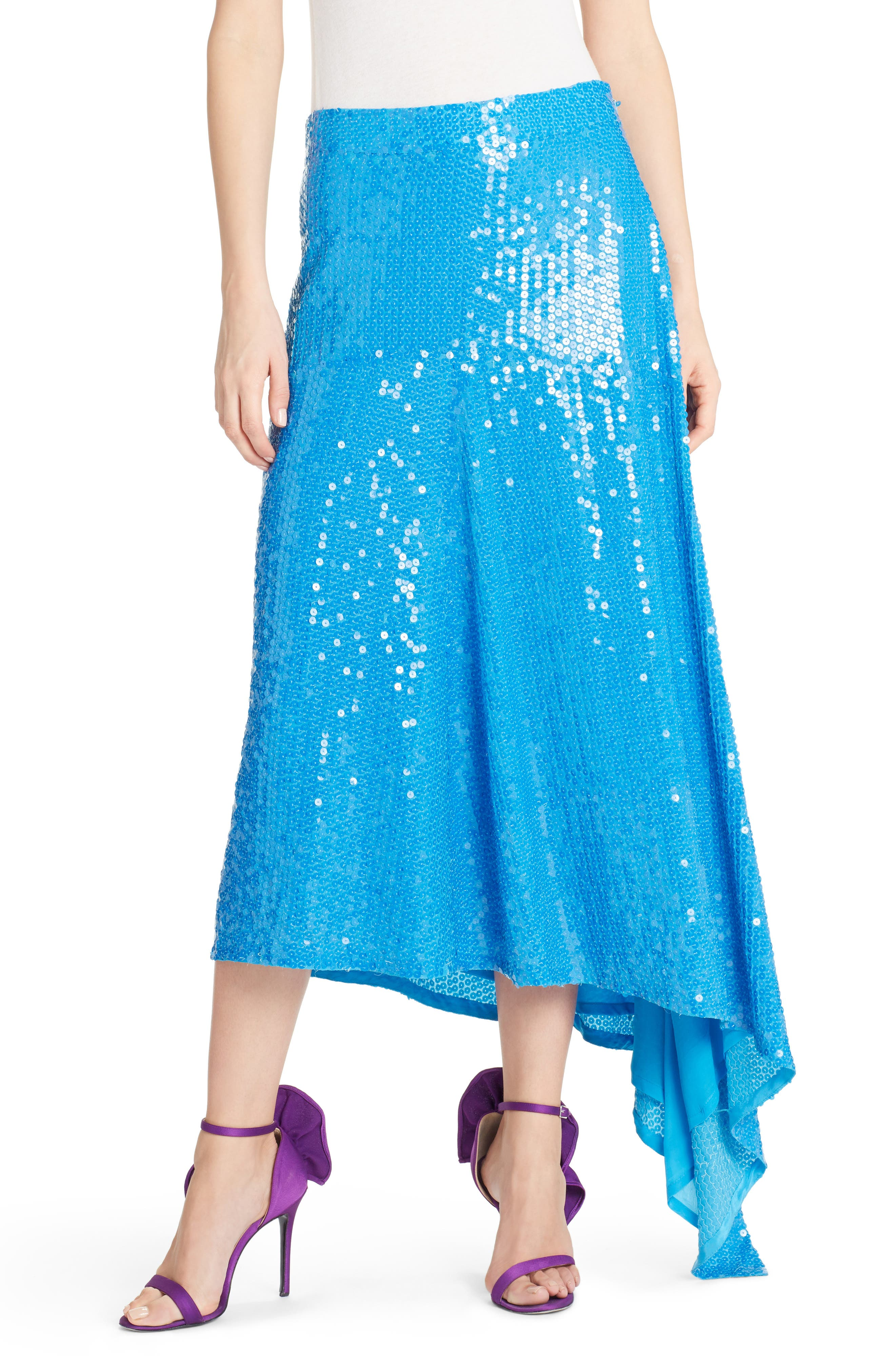 Asymmetrical Sequin Skirt,                         Main,                         color, Blue