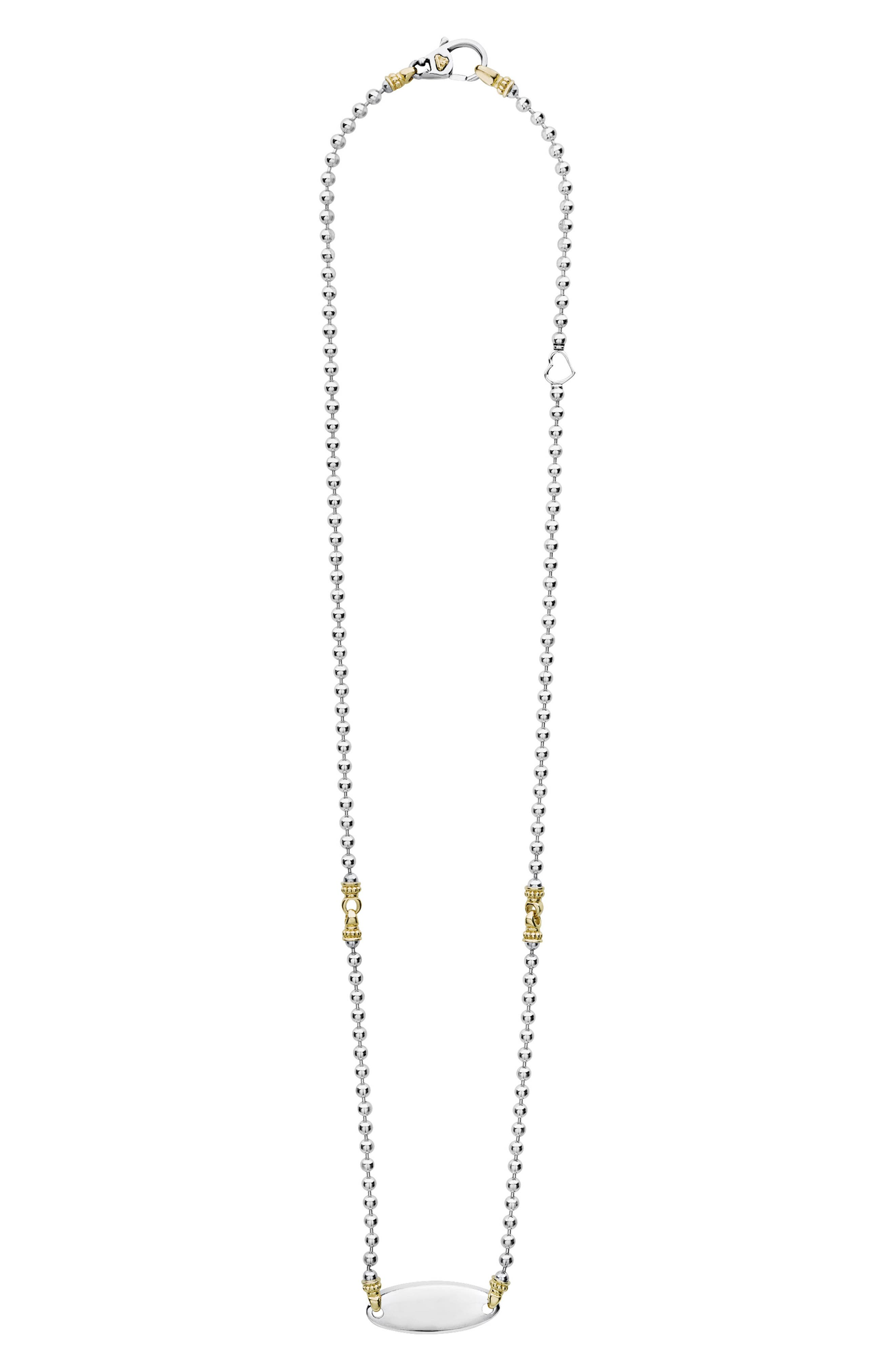 Beloved Oval Plate Chain Necklace,                             Main thumbnail 1, color,                             Silver