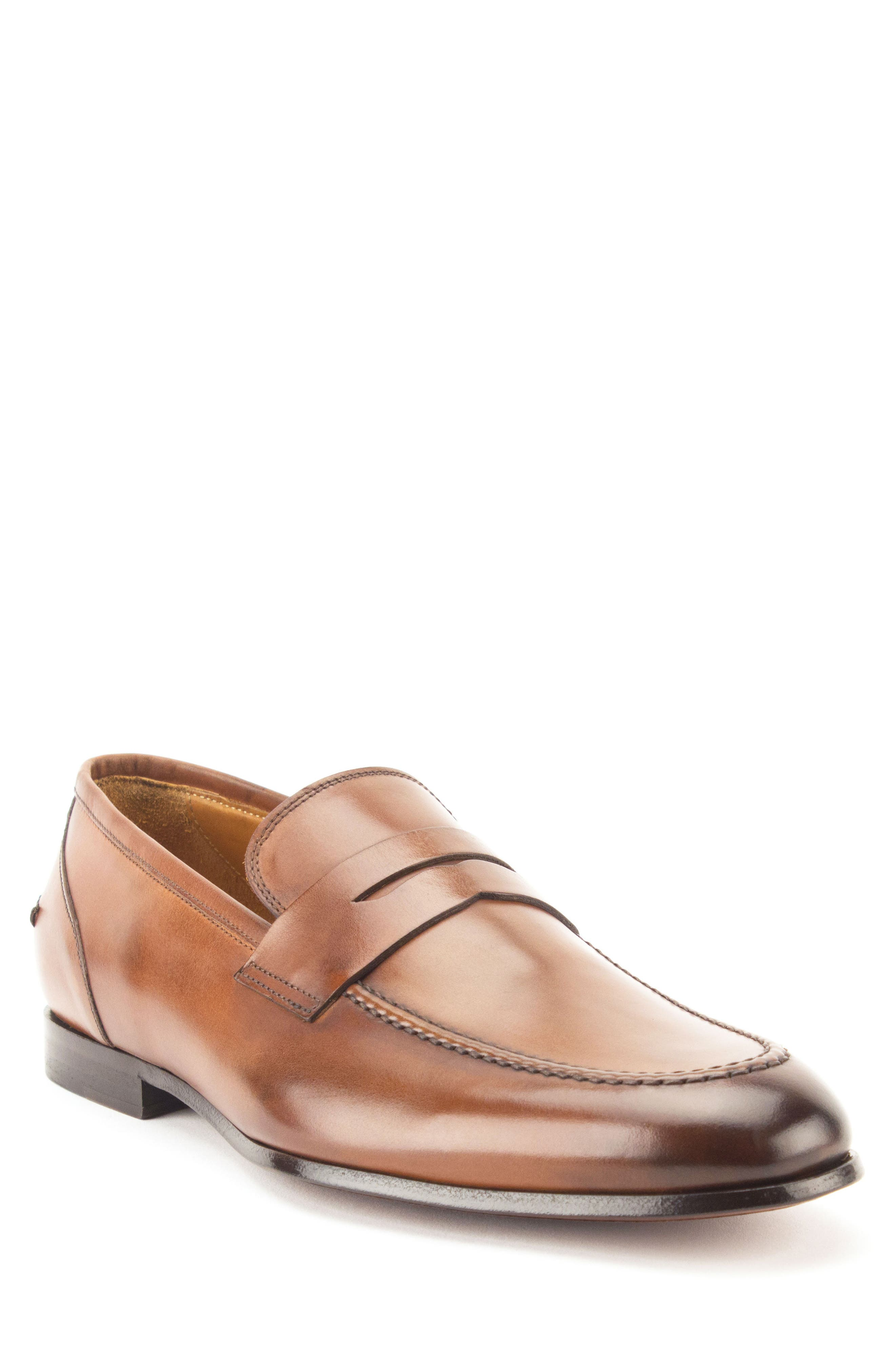 Coleman Apron Toe Penny Loafer,                             Main thumbnail 1, color,                             Tan Leather