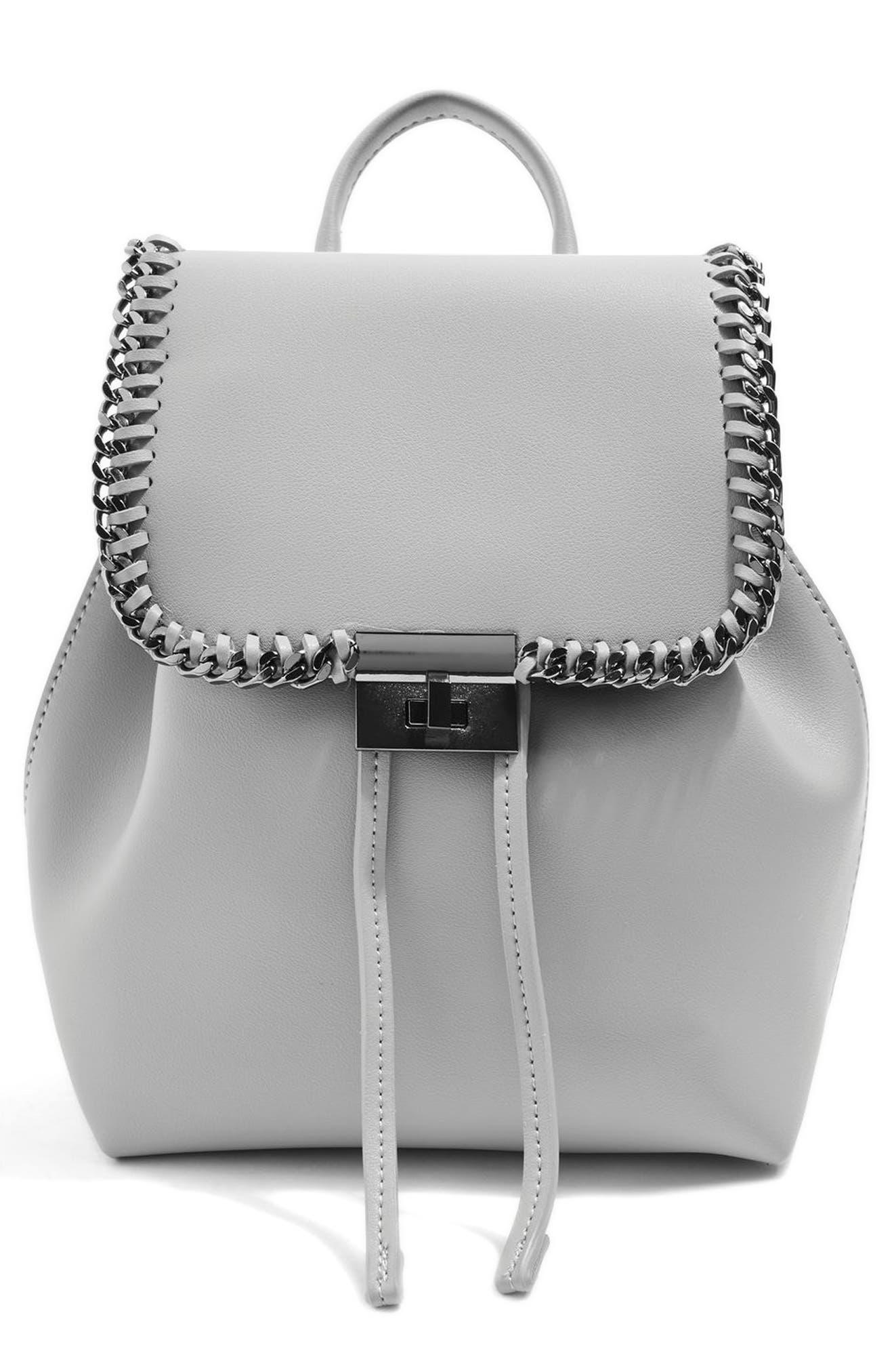 Topshop Mini Lock Chain Trim Backpack
