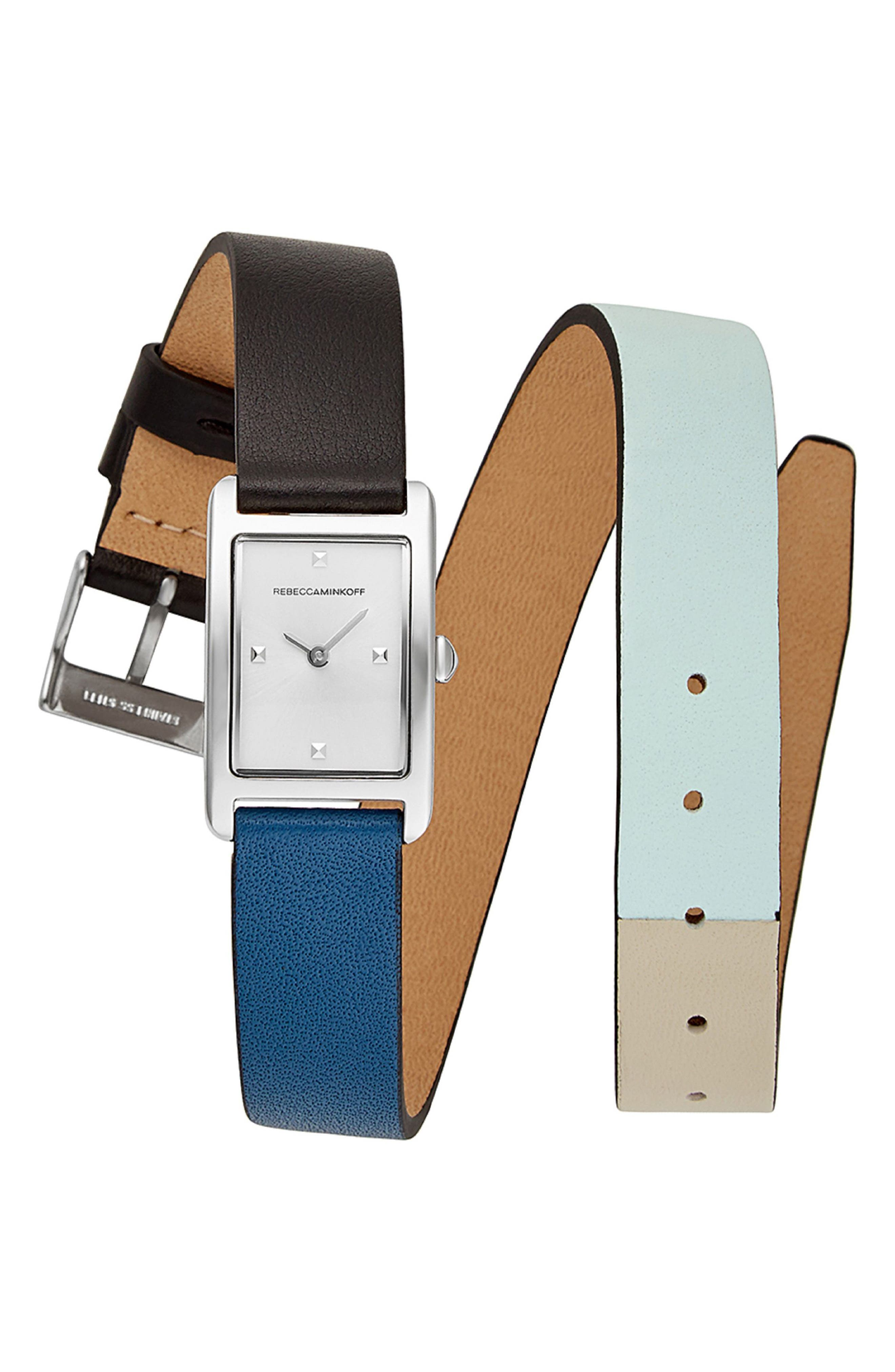 Moment Wrap Leather Strap Watch,,                         Main,                         color, Multi/ White/ Silver