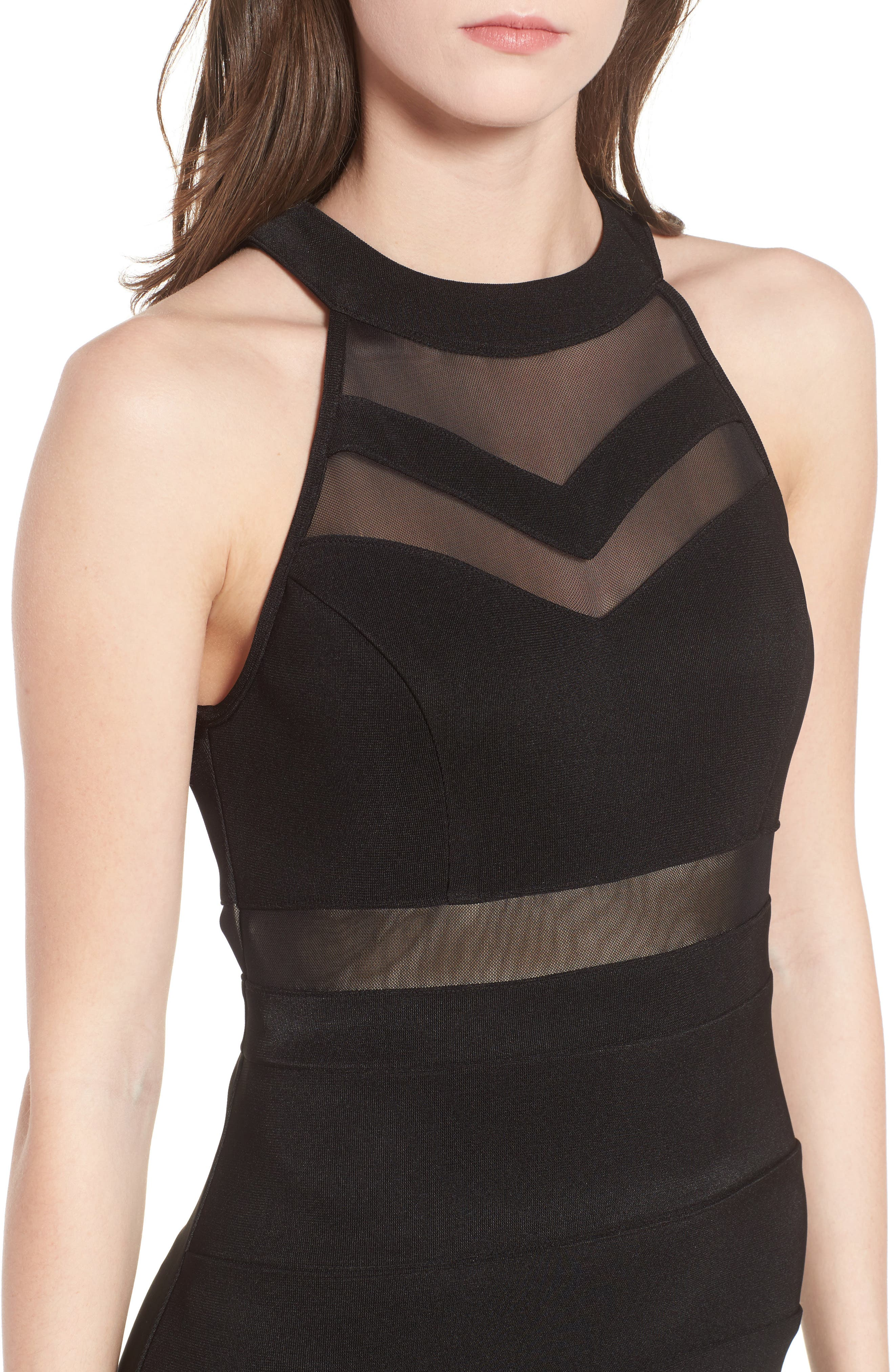 Illusion Body-Con Dress,                             Alternate thumbnail 4, color,                             Black
