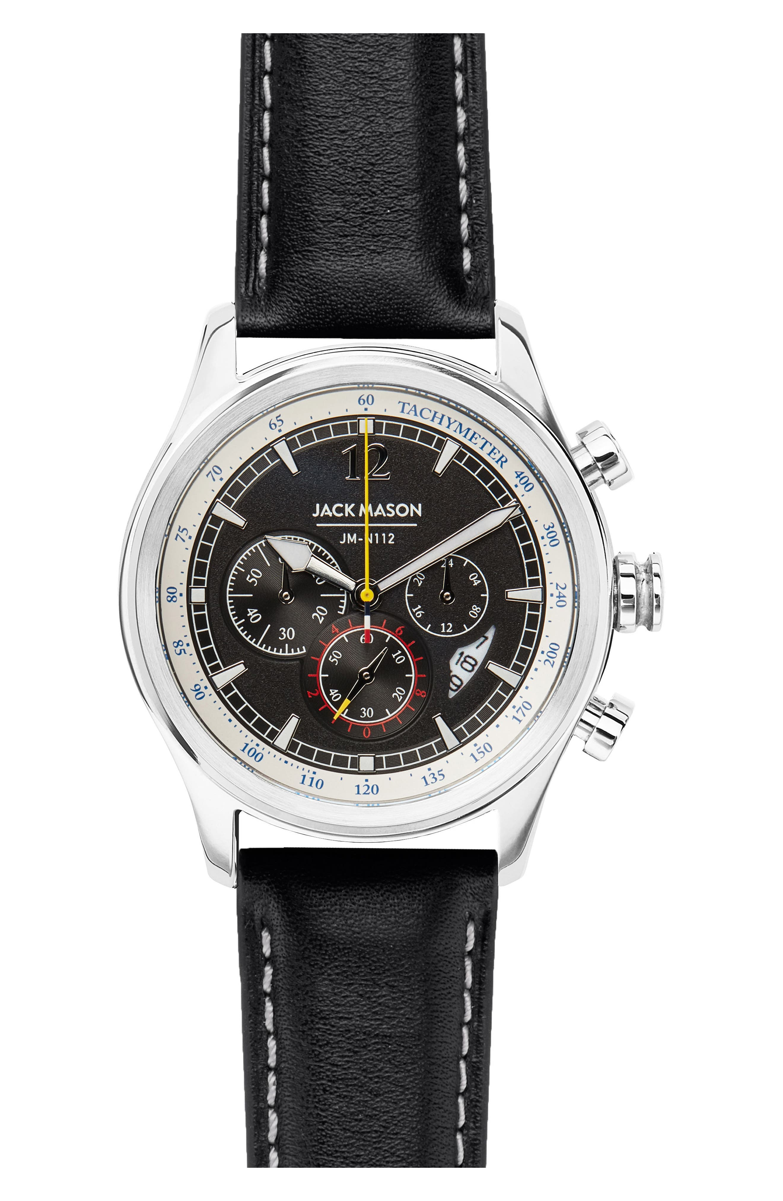 Nautical II Leather Straph Chronograph Watch, 42mm,                             Main thumbnail 1, color,                             Black/ Black