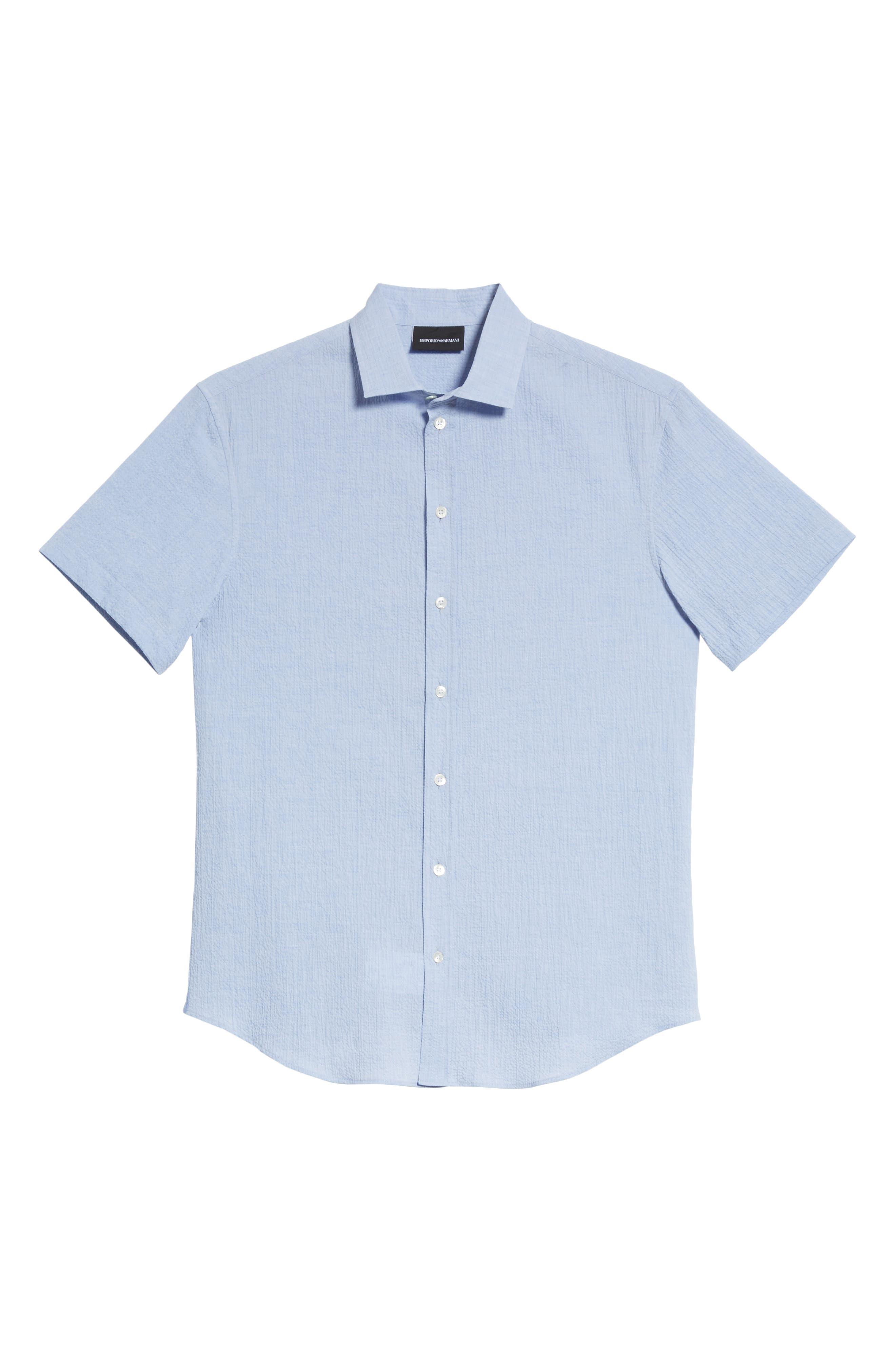 Regular Fit Seersucker Sport Shirt,                             Alternate thumbnail 6, color,                             Light Azure
