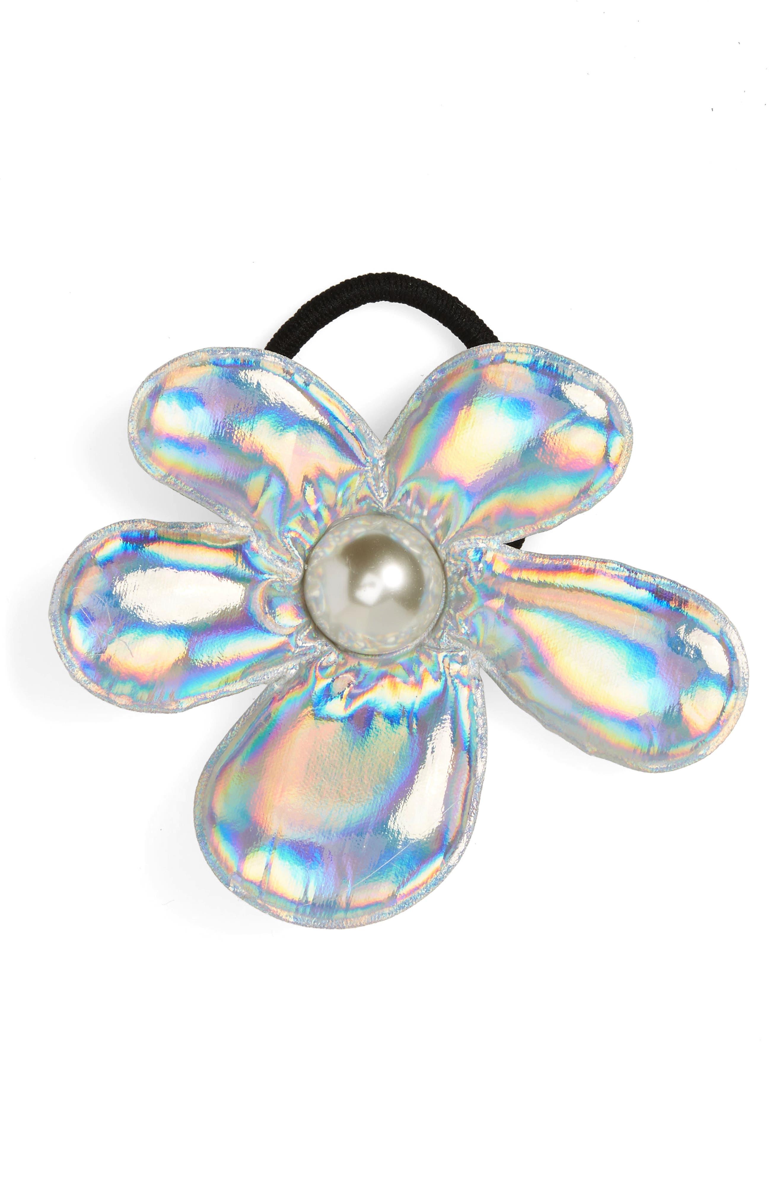 Iridescent Flower Ponytail Holder,                         Main,                         color, Silver