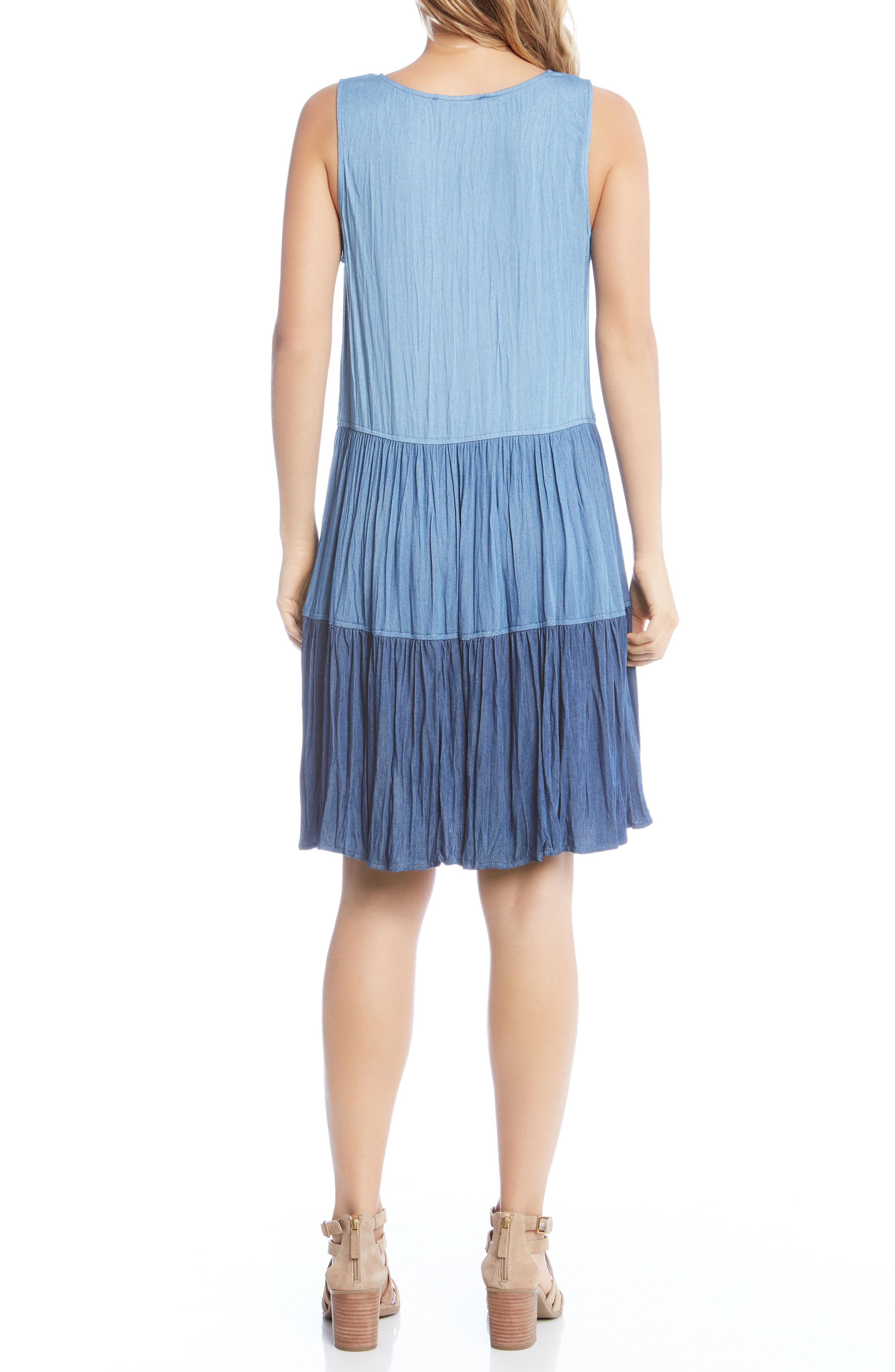 Tiered Chambray Dress,                             Alternate thumbnail 3, color,                             Multi-Colored