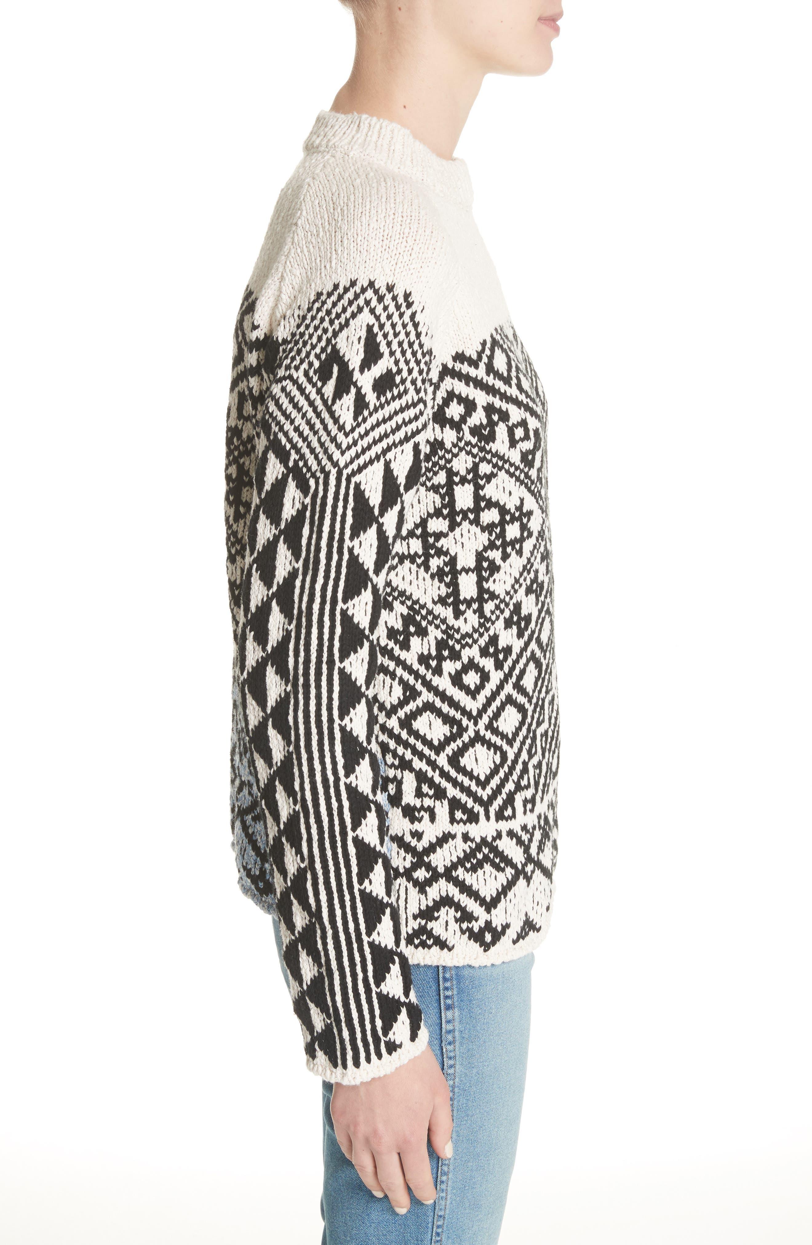 Rhia Jacquard Sweater,                             Alternate thumbnail 3, color,                             Off White/ Black