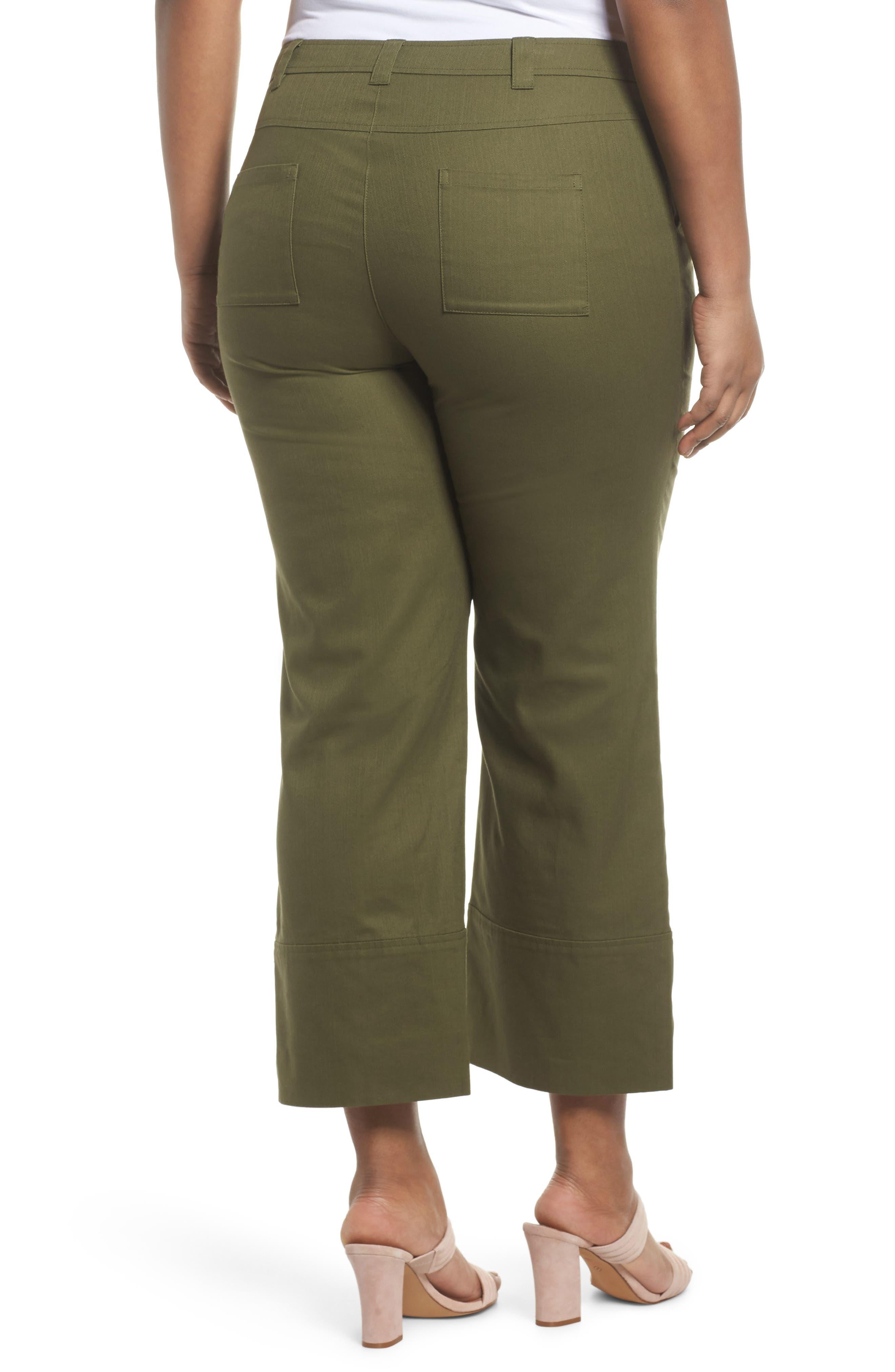 Wide Leg Ankle Pants,                             Alternate thumbnail 2, color,                             Olive Moss
