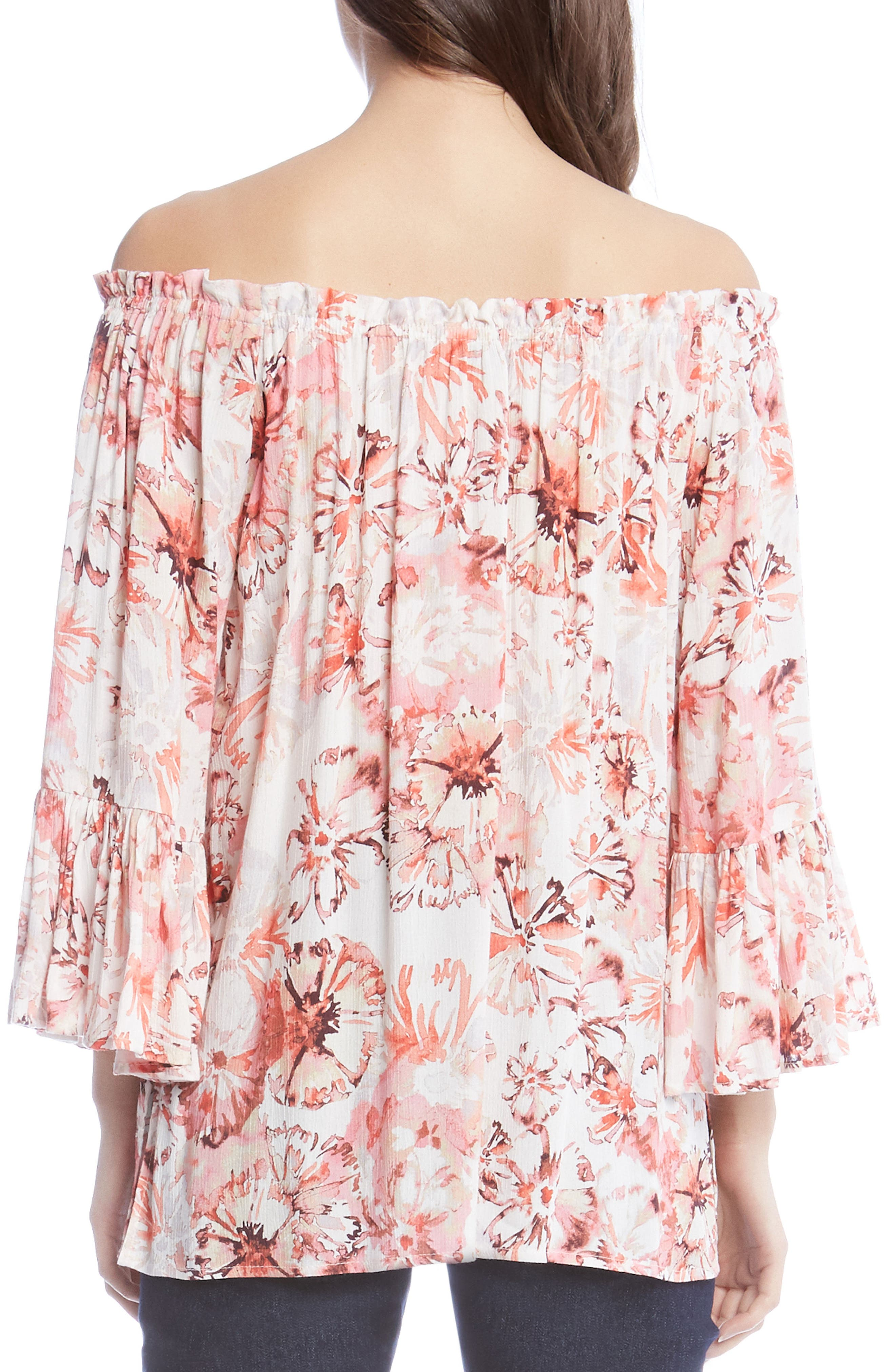 Floral Off the Shoulder Convertible Top,                             Alternate thumbnail 2, color,                             Rose