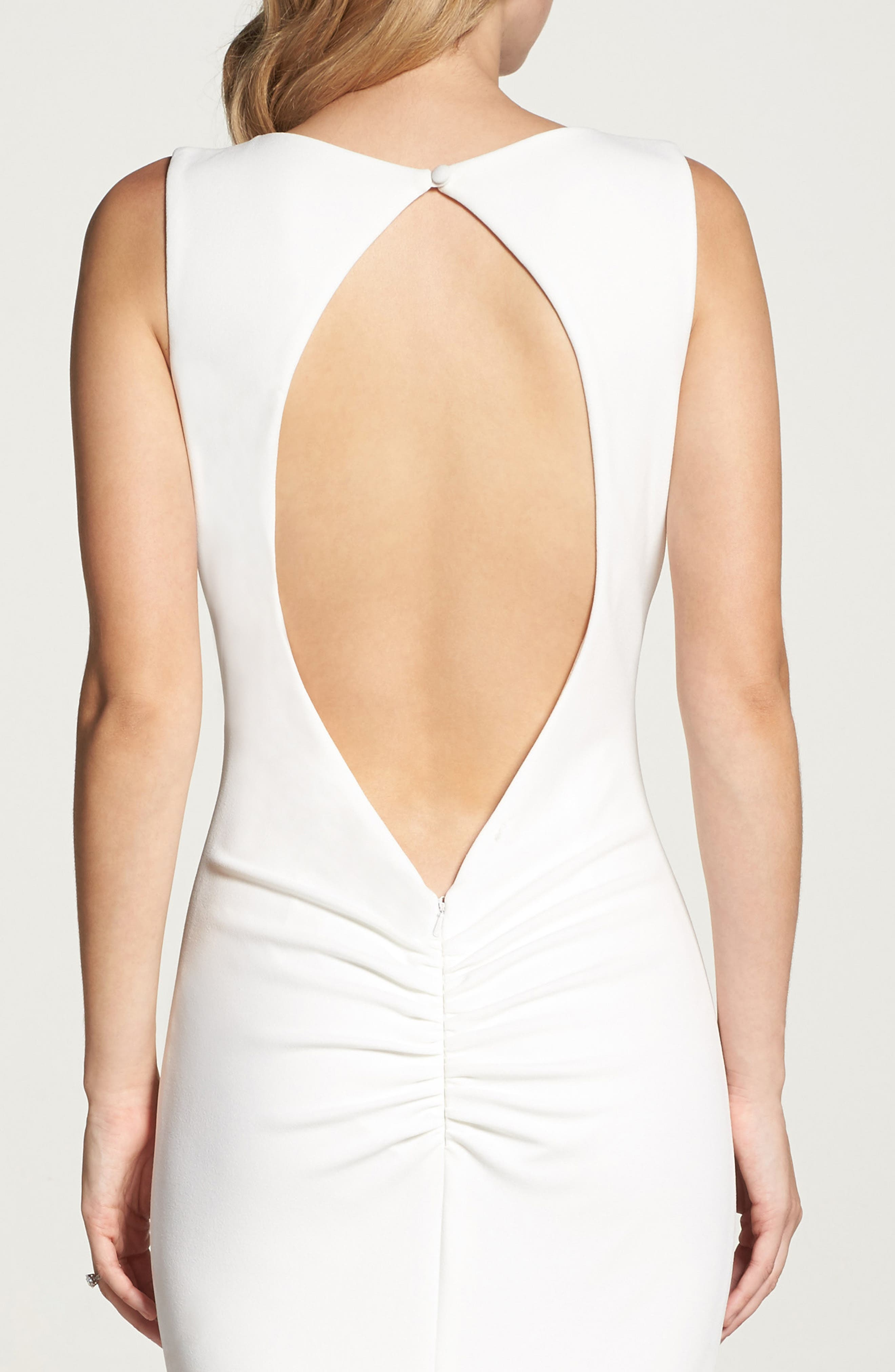 Low Back Crepe Mermaid Gown,                             Alternate thumbnail 10, color,                             Ivory