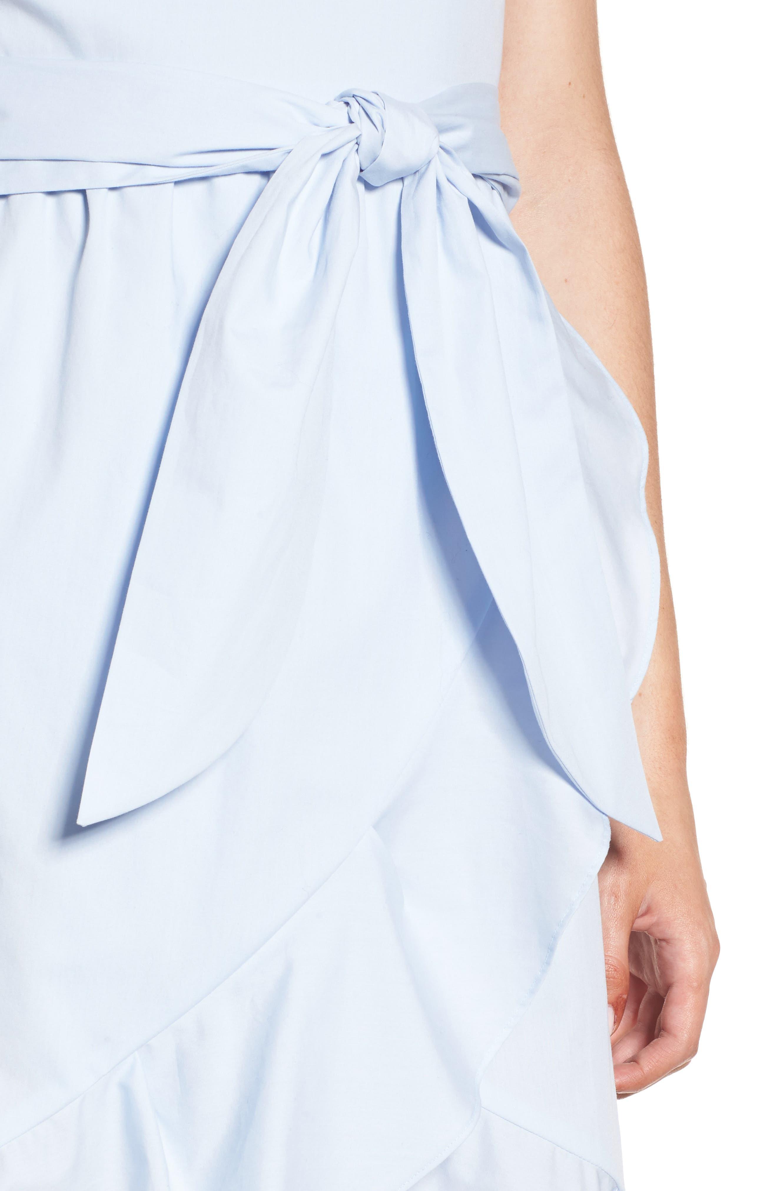 Poplin Tie Waist Dress,                             Alternate thumbnail 5, color,                             Pale Blue