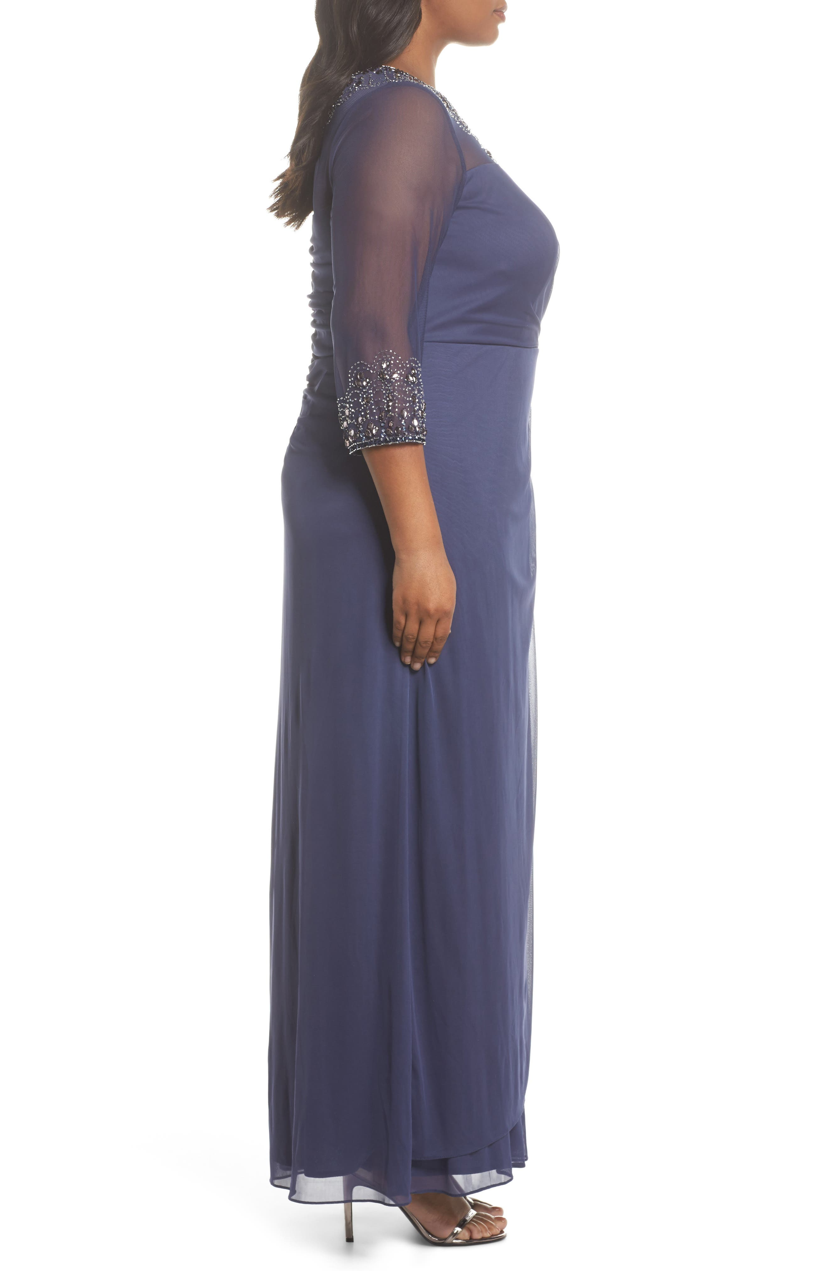 Beaded Illusion Neck A-Line Gown,                             Alternate thumbnail 3, color,                             Violet