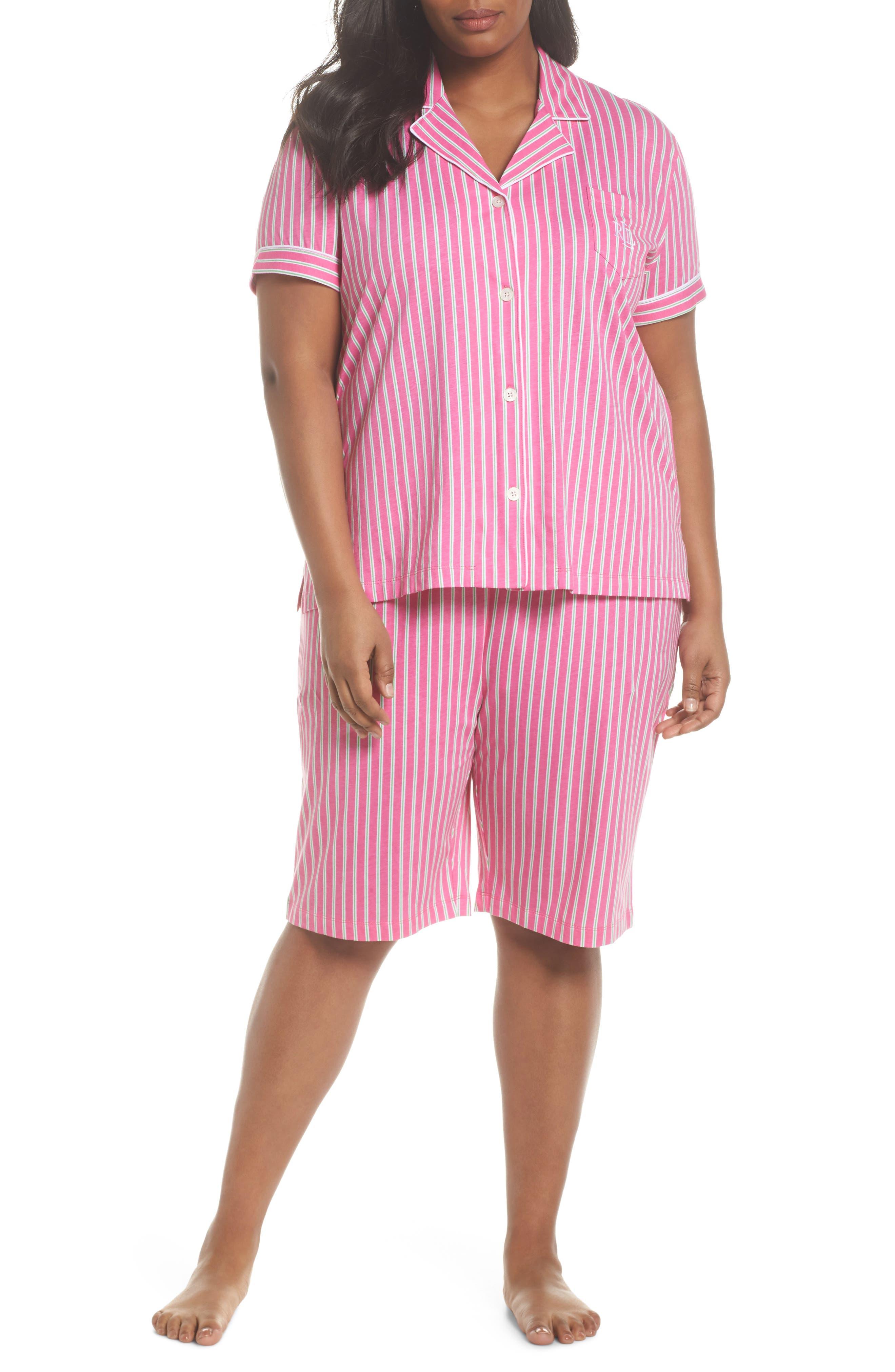 Bermuda Pajamas,                             Main thumbnail 1, color,                             Pink Stripe