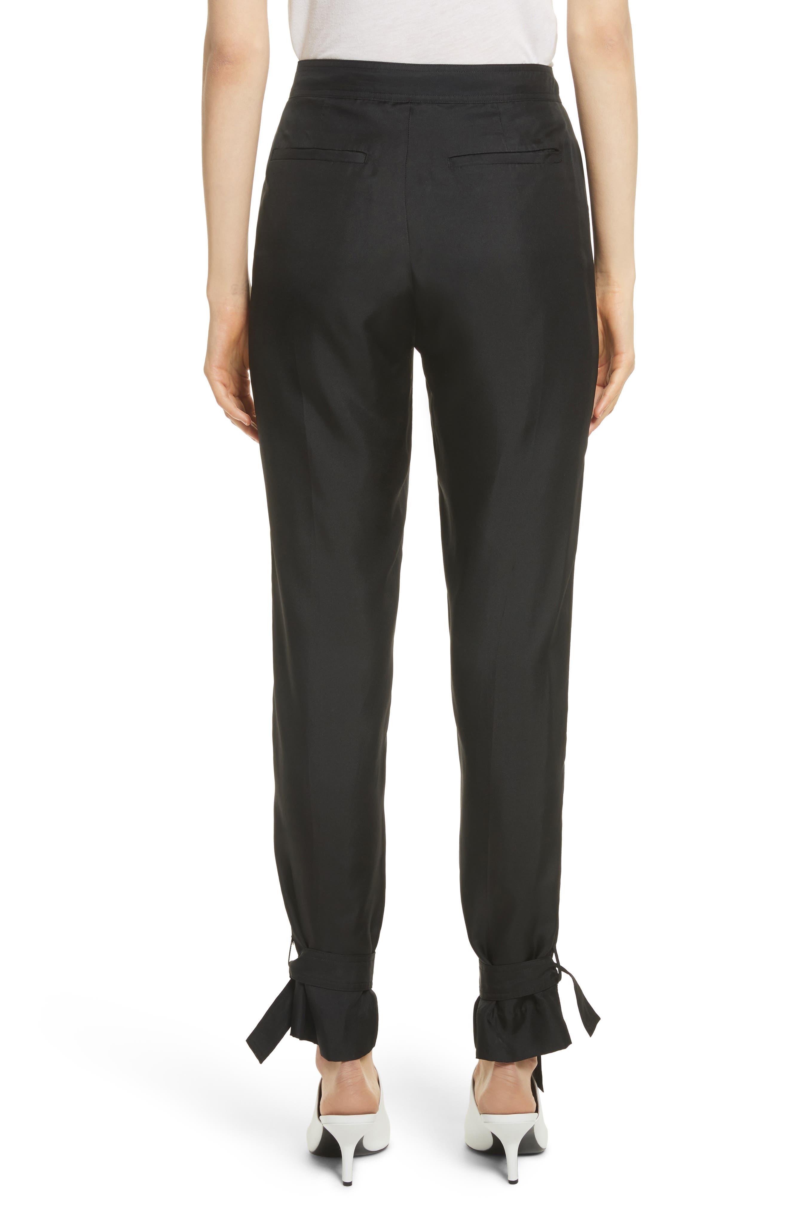 Tie Cuff Silk Pants,                             Alternate thumbnail 3, color,                             Black