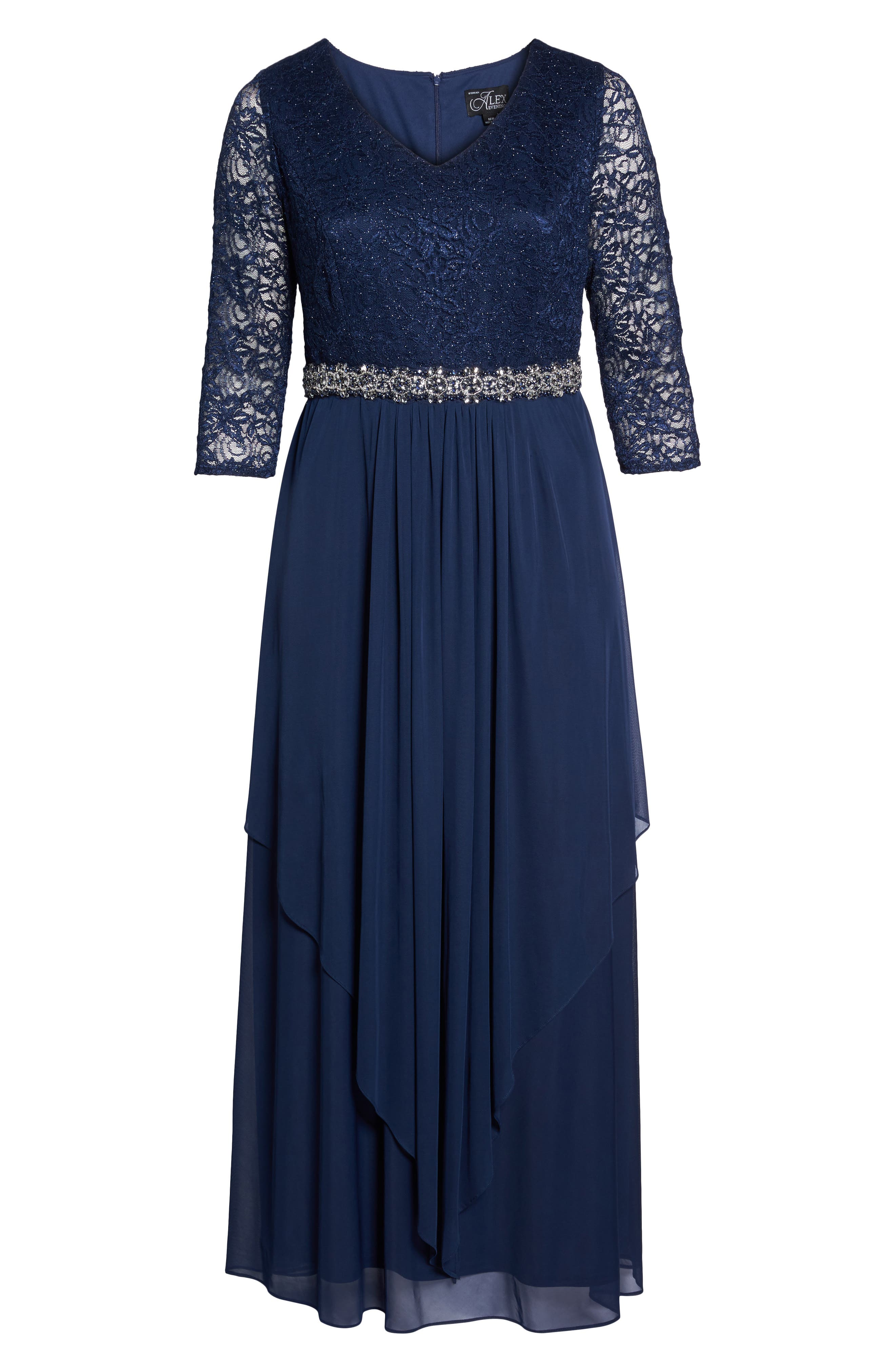 Embellished Lace & Tiered Chiffon Gown,                             Alternate thumbnail 6, color,                             Navy