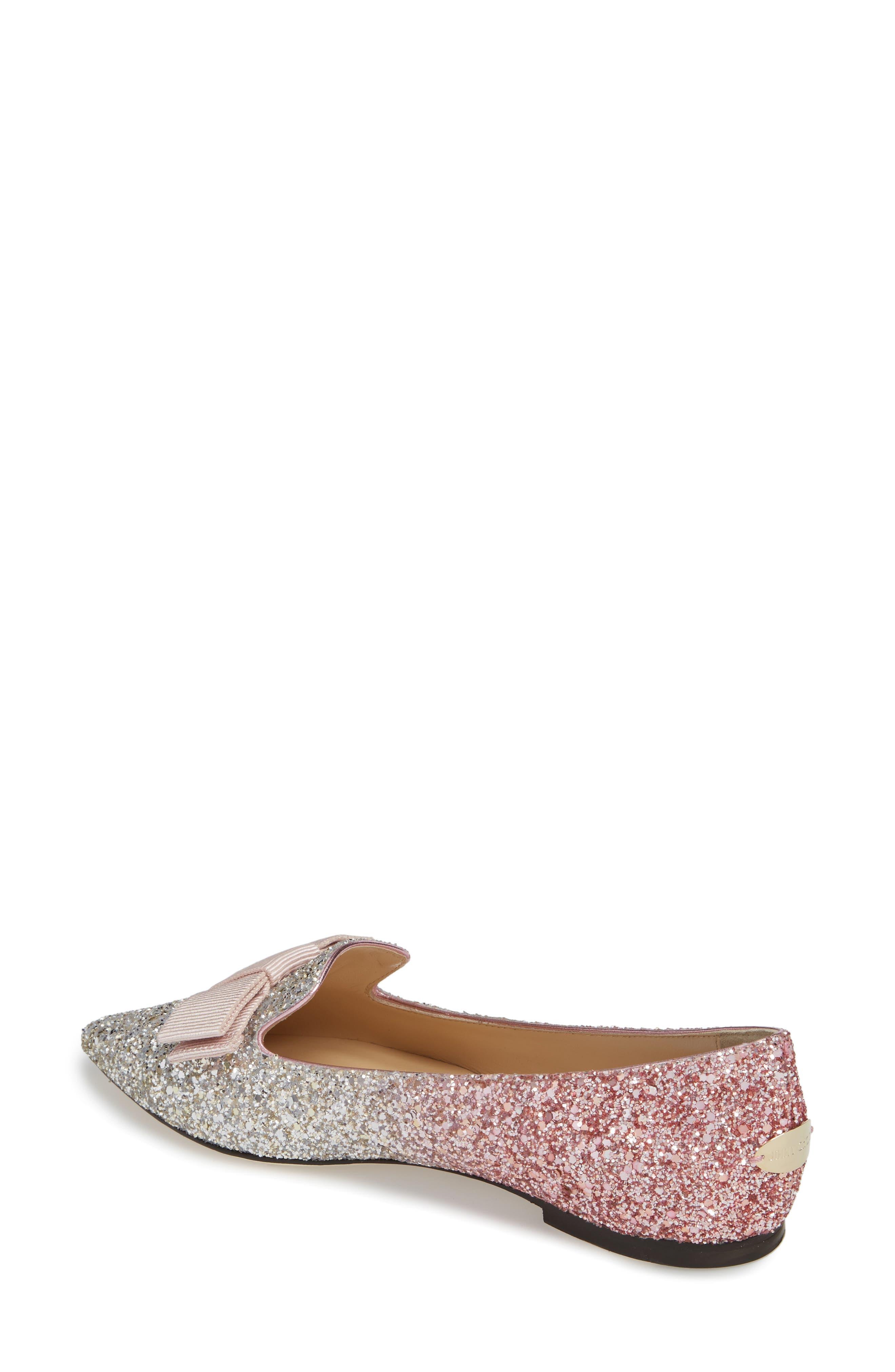 Glitter Bow Flat,                             Alternate thumbnail 2, color,                             Flamingo Pink