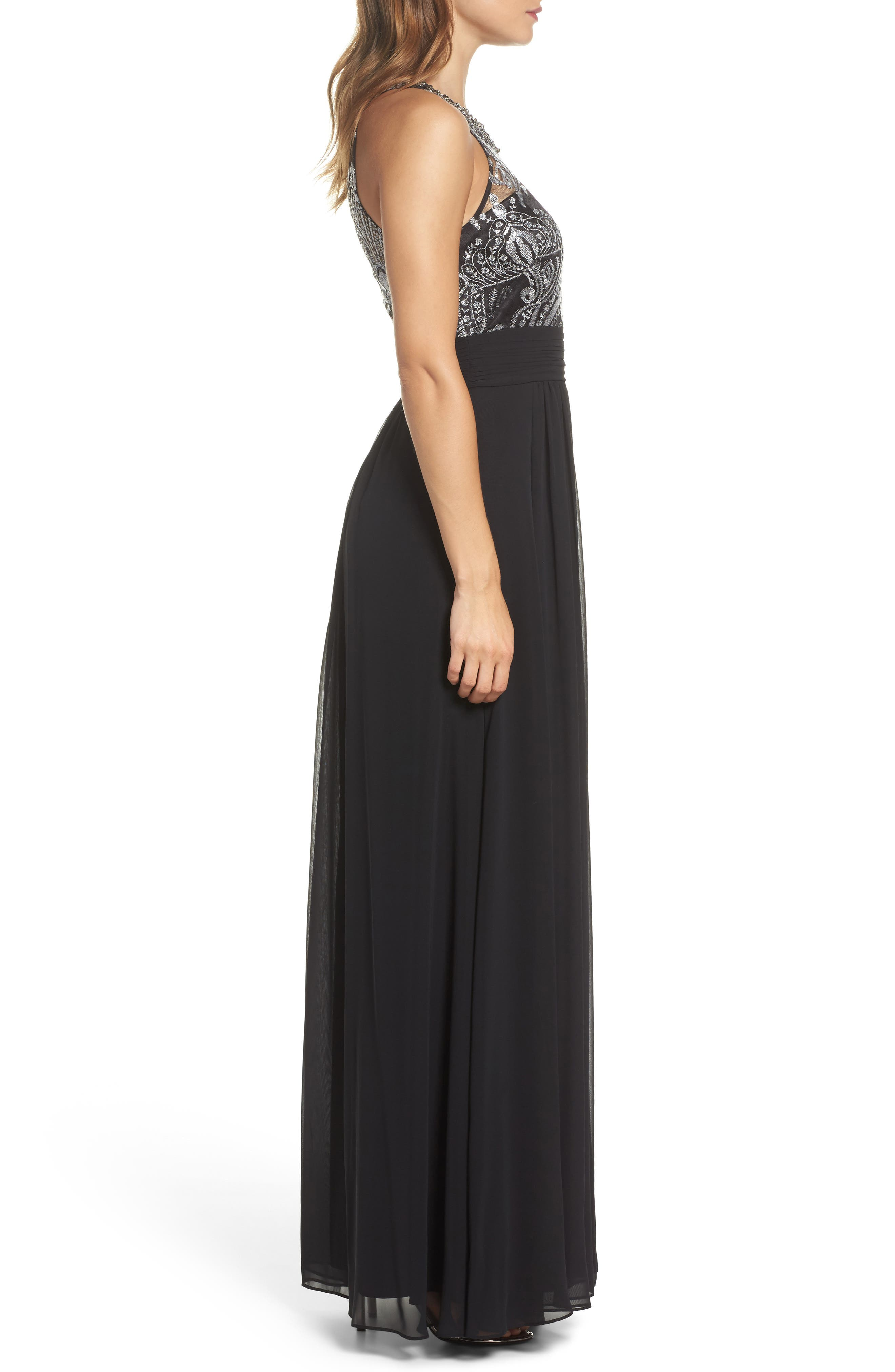 Lace Bodice Gown,                             Alternate thumbnail 3, color,                             Silver Com