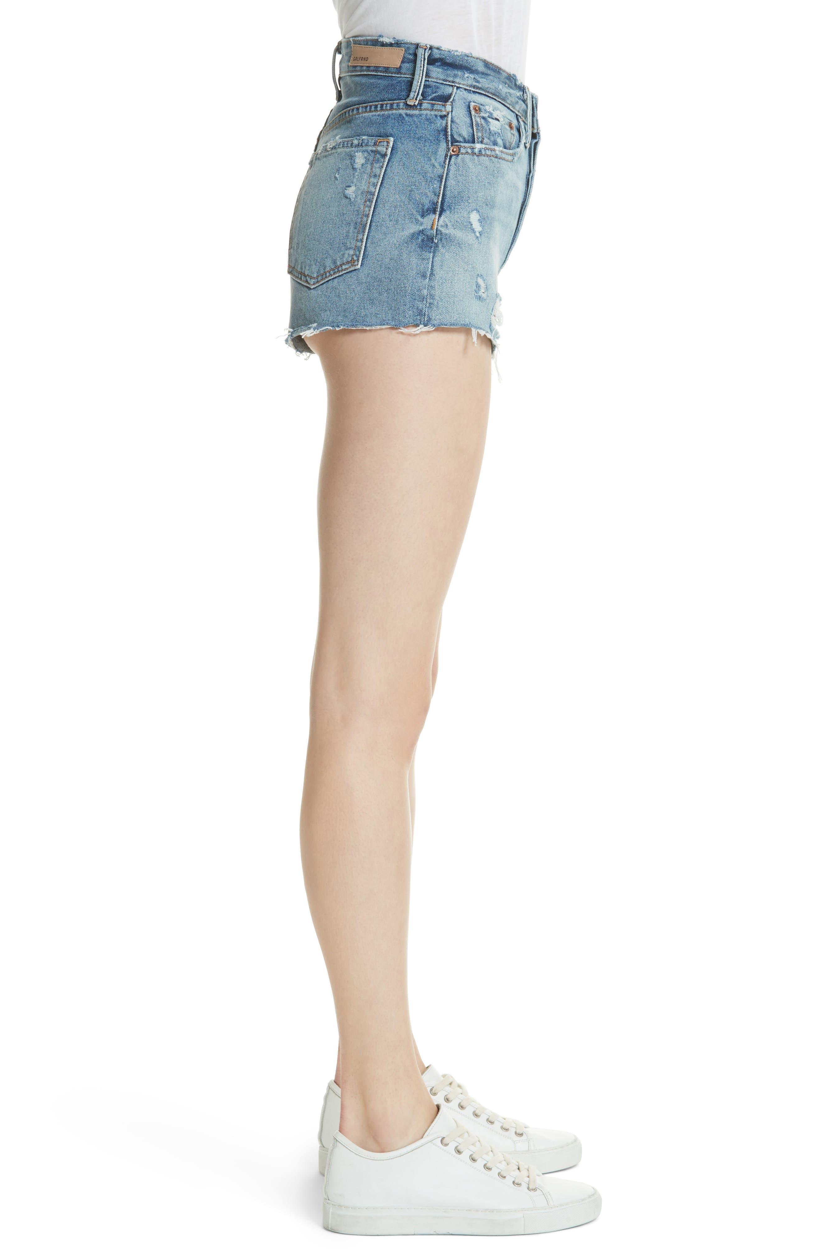 Cindy Rigid High Waist Denim Shorts,                             Alternate thumbnail 3, color,                             Stoned G601