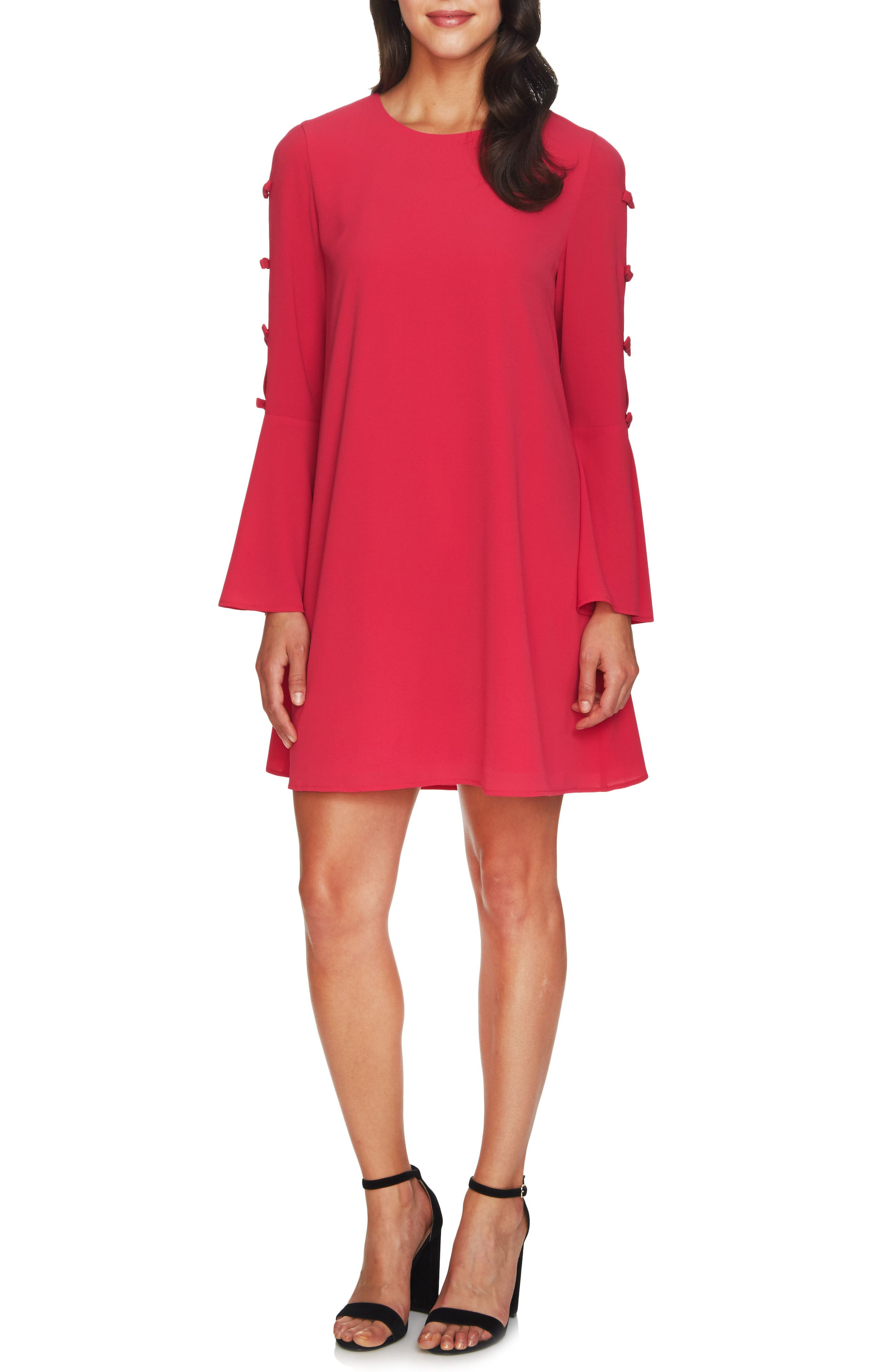 Abby Bell Sleeve Dress,                         Main,                         color, Bright Rose