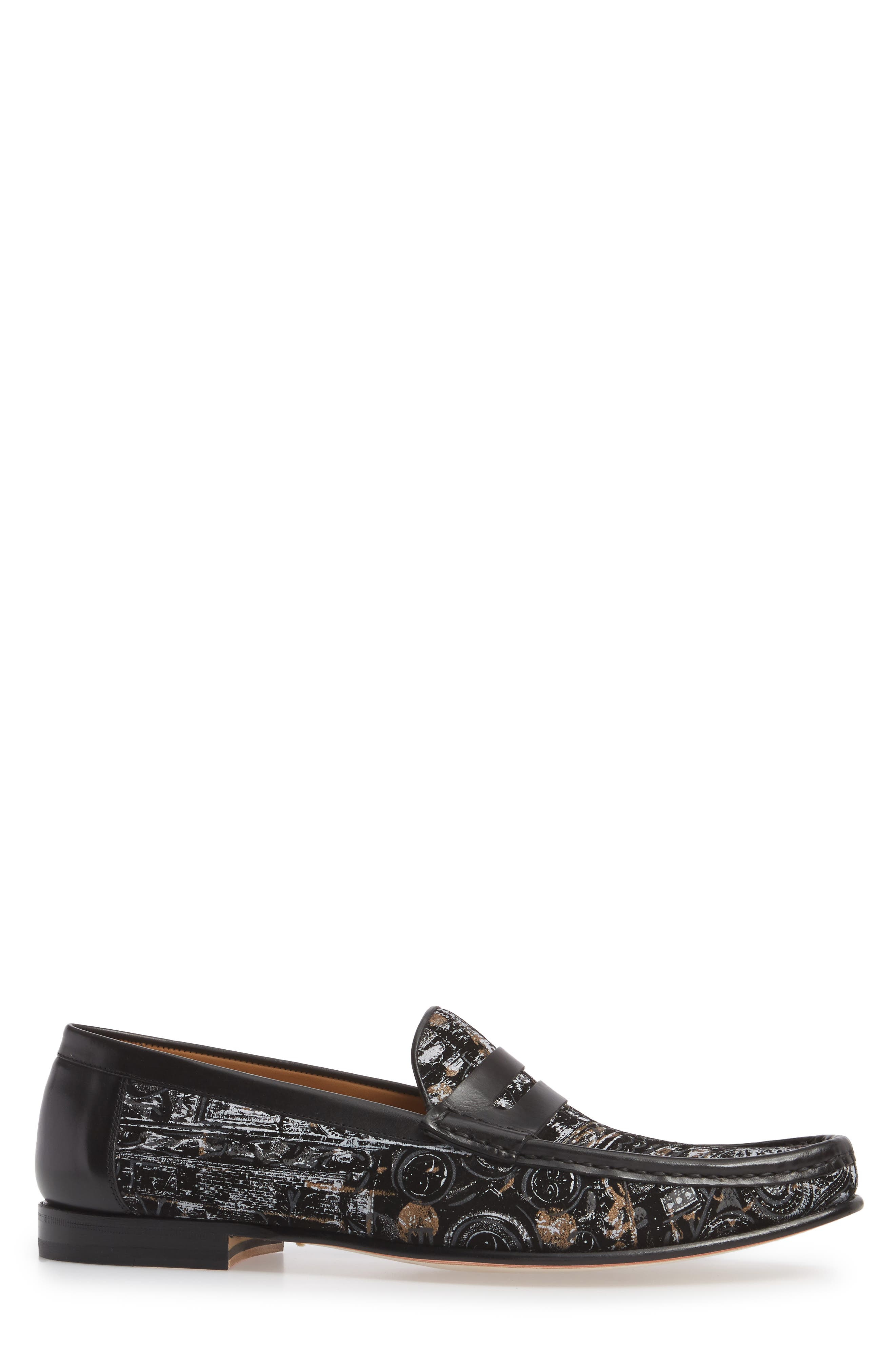 Laries II Penny Loafer,                             Alternate thumbnail 3, color,                             Black Suede/ Leather