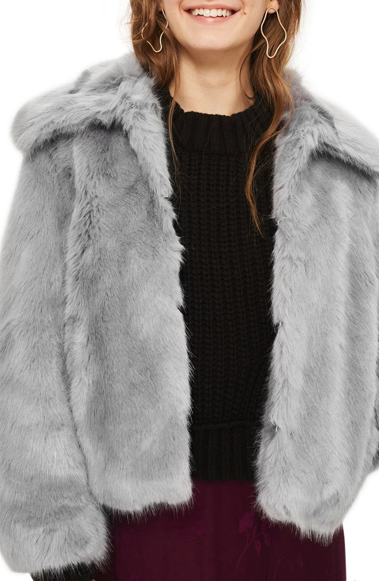 Claire Faux Fur Coat,                             Main thumbnail 1, color,                             Dark Grey