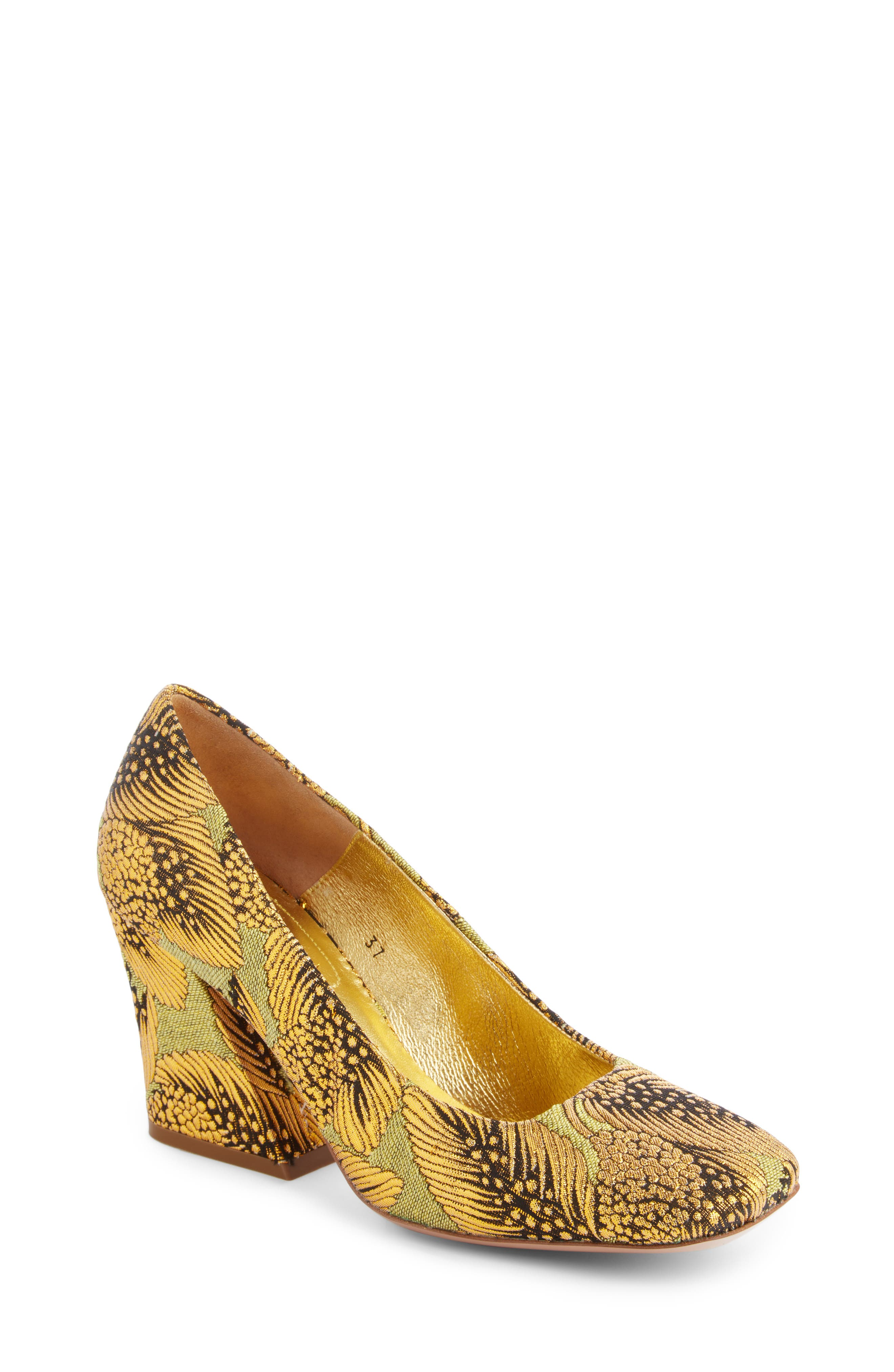Leaf Print Angle Heel Pump,                         Main,                         color, Gold