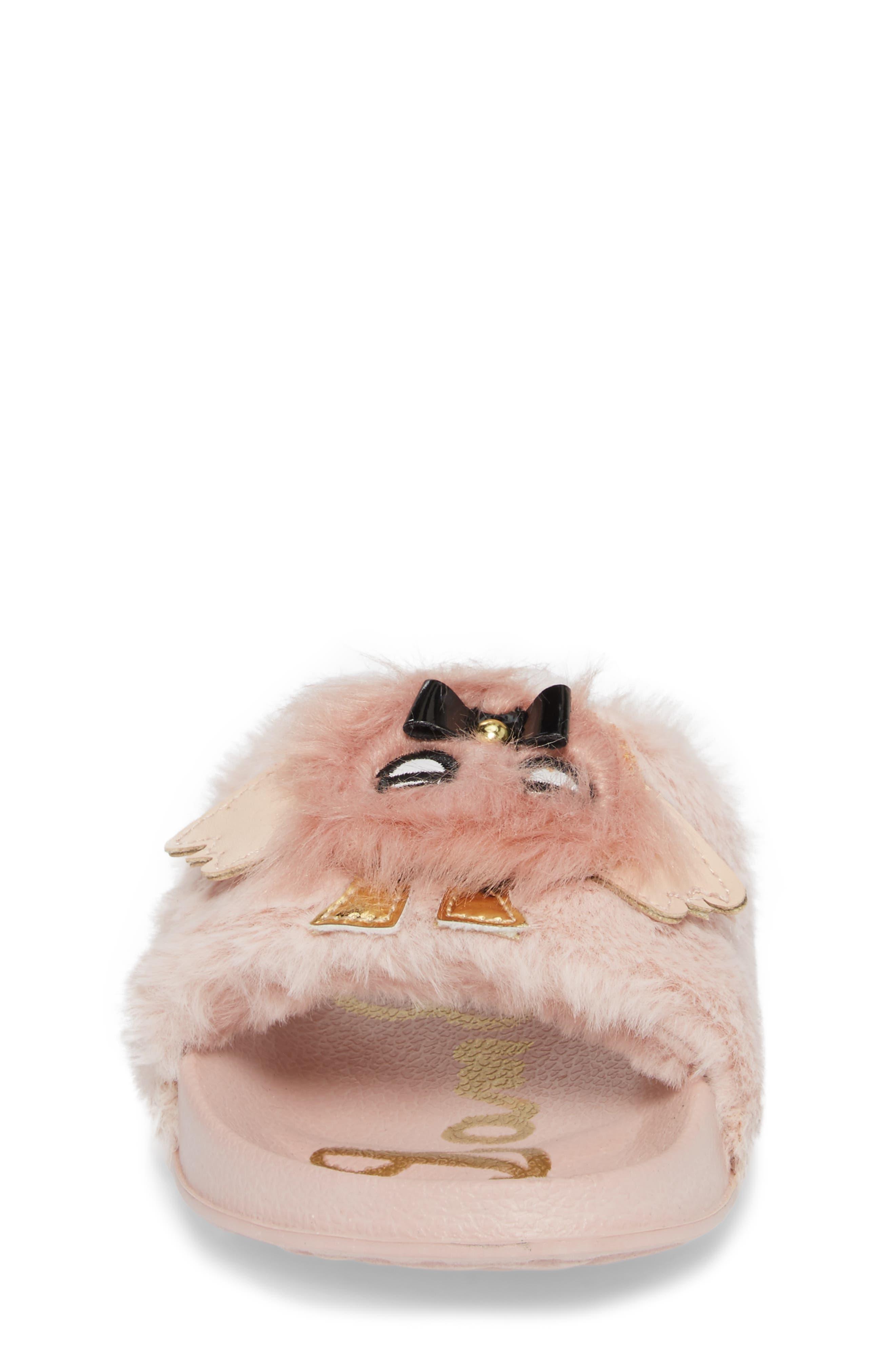 Mackie Furry Faux Fur Slide Sandal,                             Alternate thumbnail 4, color,                             Blush Faux Fur