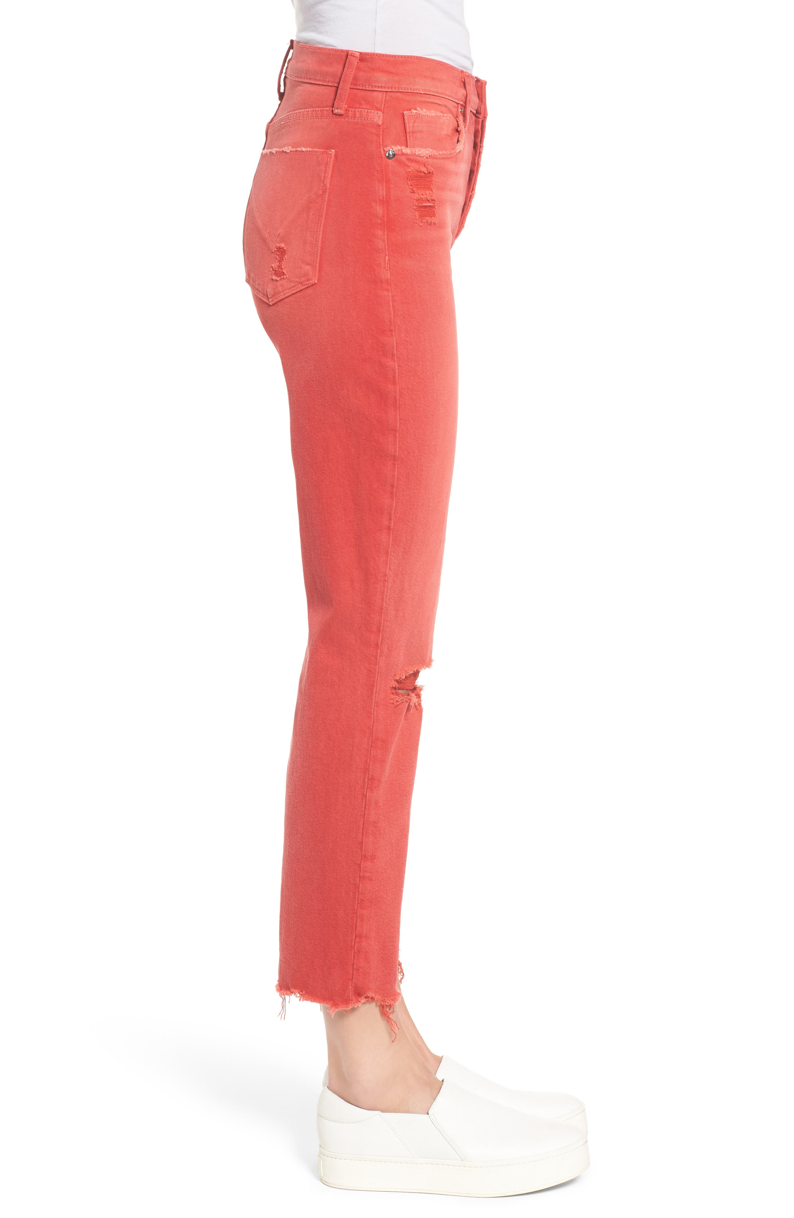 Zoeey Crop Straight Leg Jeans,                             Alternate thumbnail 3, color,                             Red Alert