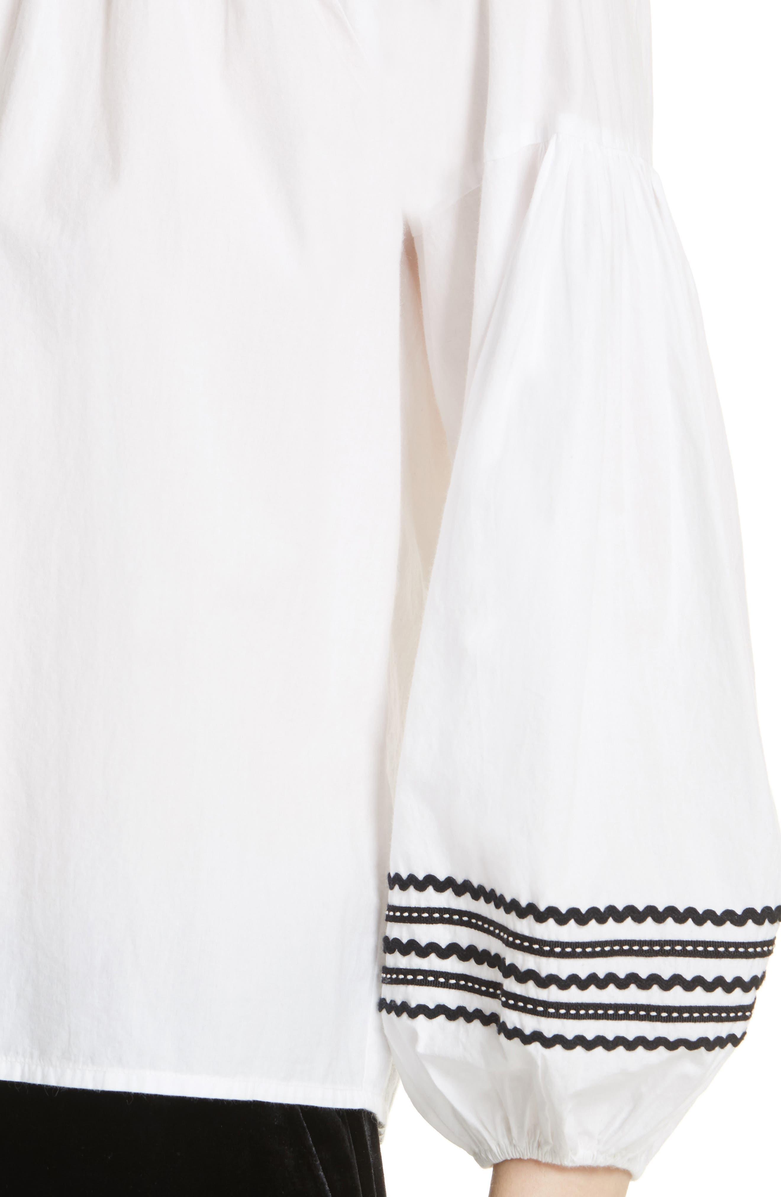 Ghada Peasant Top,                             Alternate thumbnail 4, color,                             Clean White