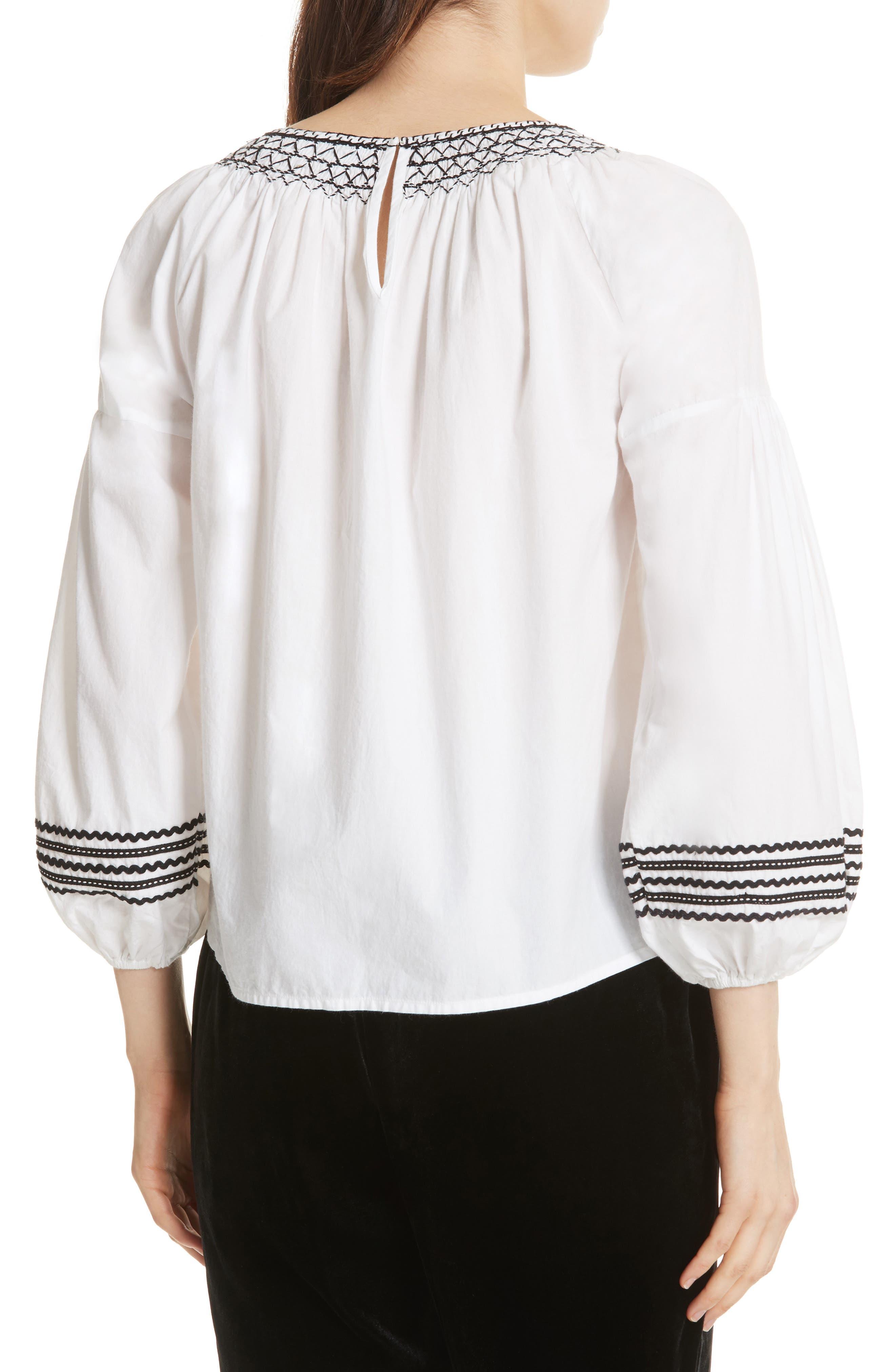 Ghada Peasant Top,                             Alternate thumbnail 2, color,                             Clean White