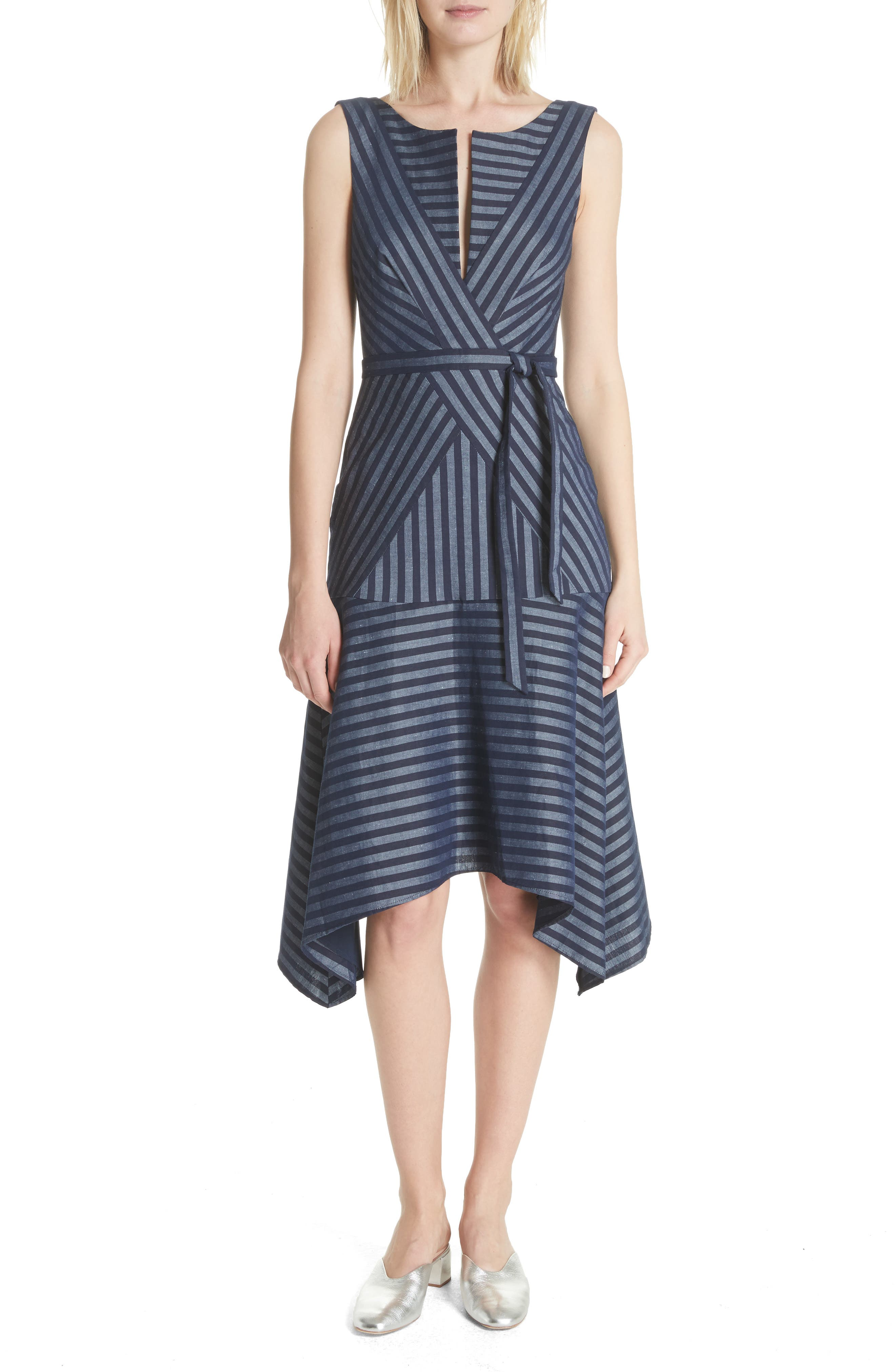 Directional Stripe A-Line Dress,                             Main thumbnail 1, color,                             India Ink
