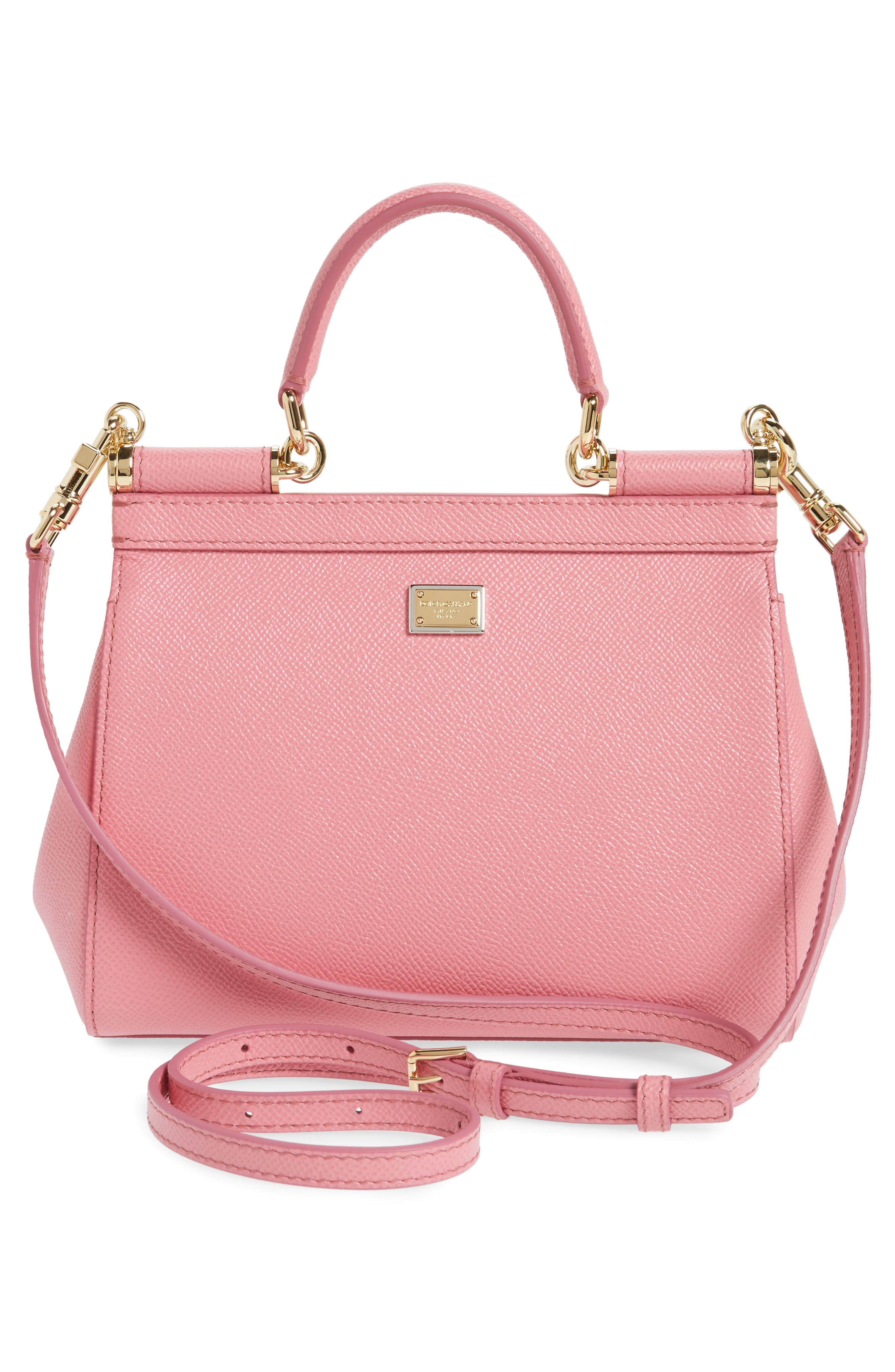 Small Miss Sicily - Love Leather Satchel,                             Alternate thumbnail 3, color,                             Rosa Intenso