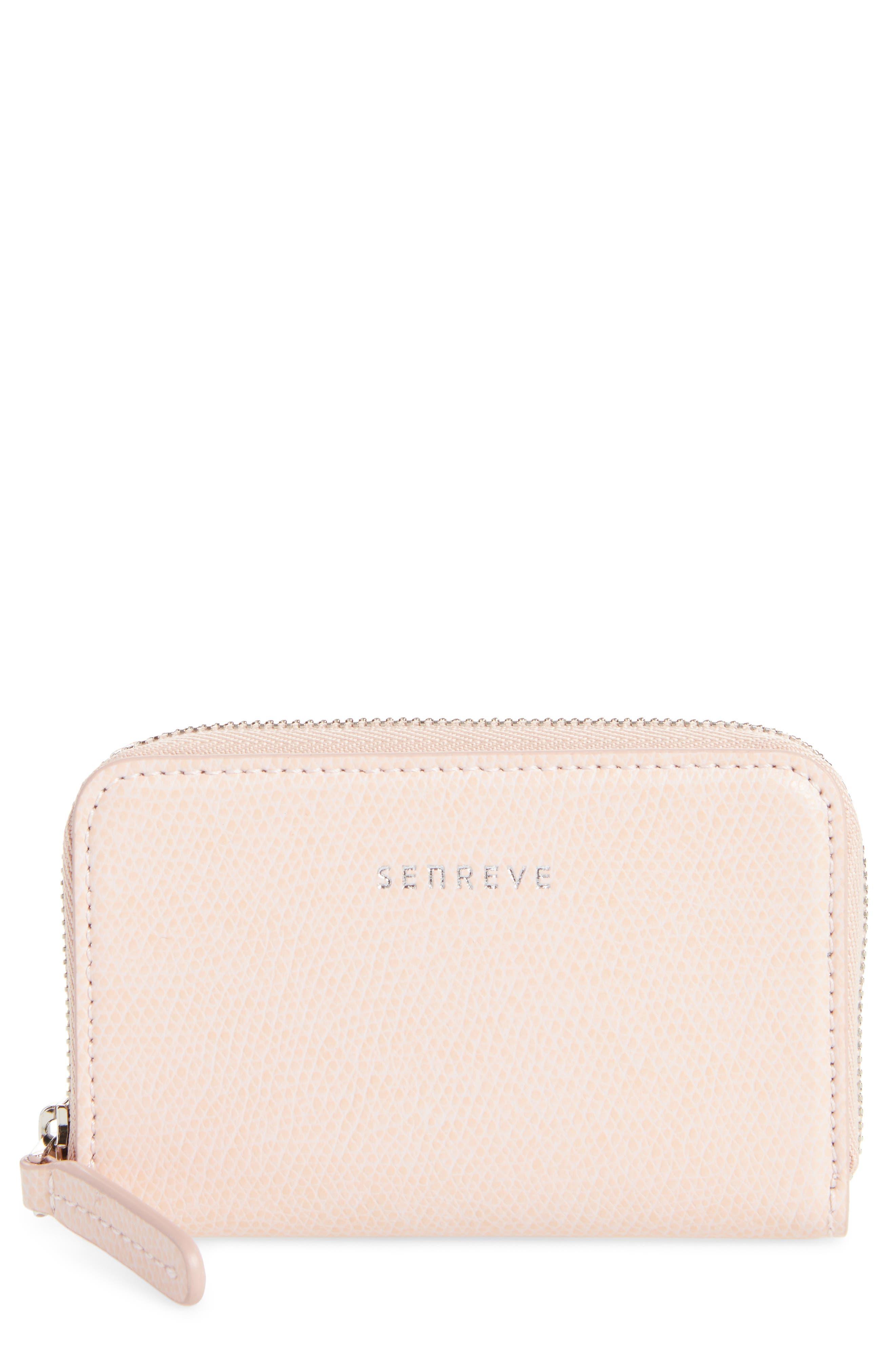 Pebbled Leather Card Wallet,                             Main thumbnail 1, color,                             Blush