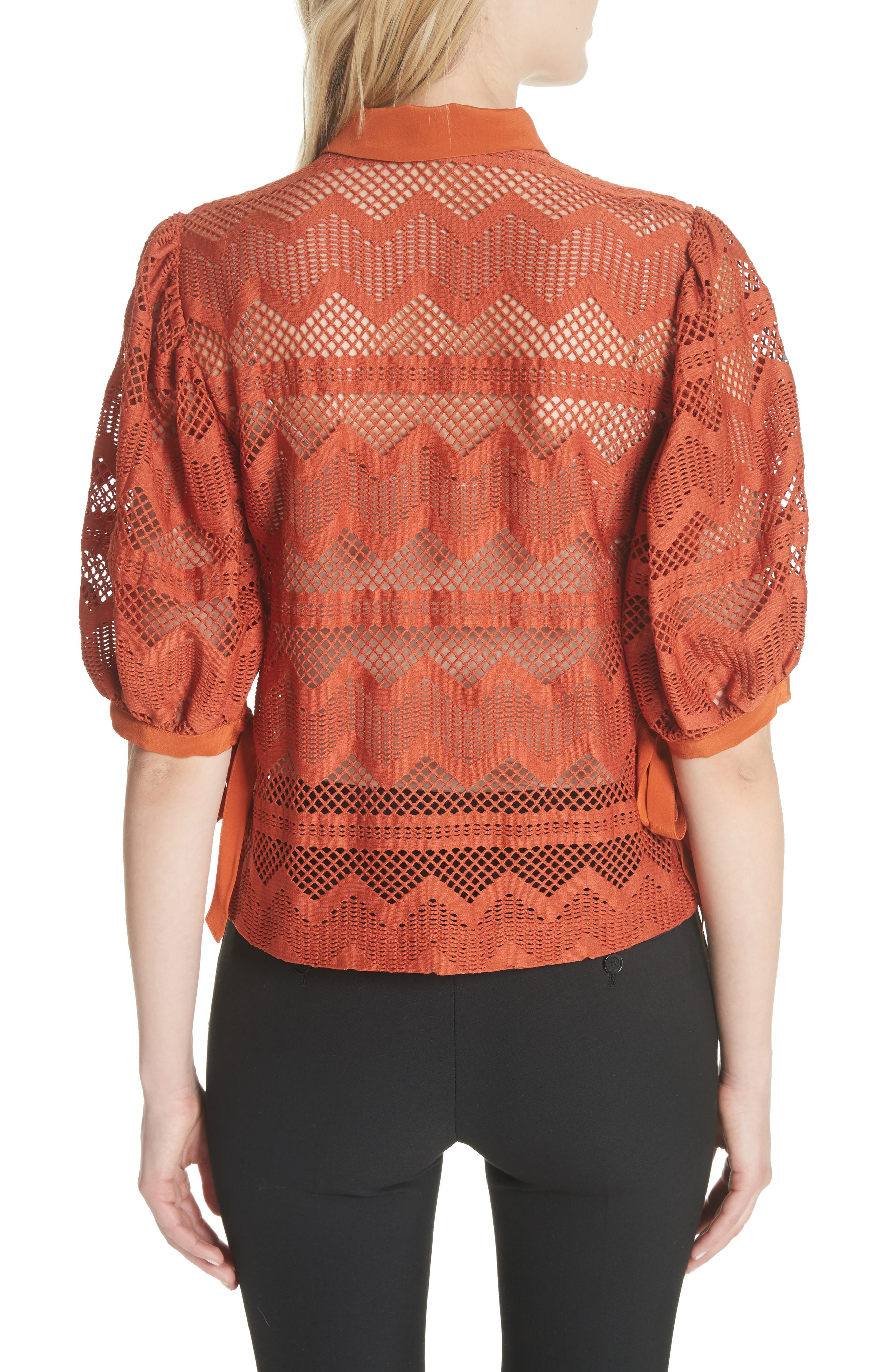 Puff Sleeve Lace Blouse,                             Alternate thumbnail 2, color,                             Brick