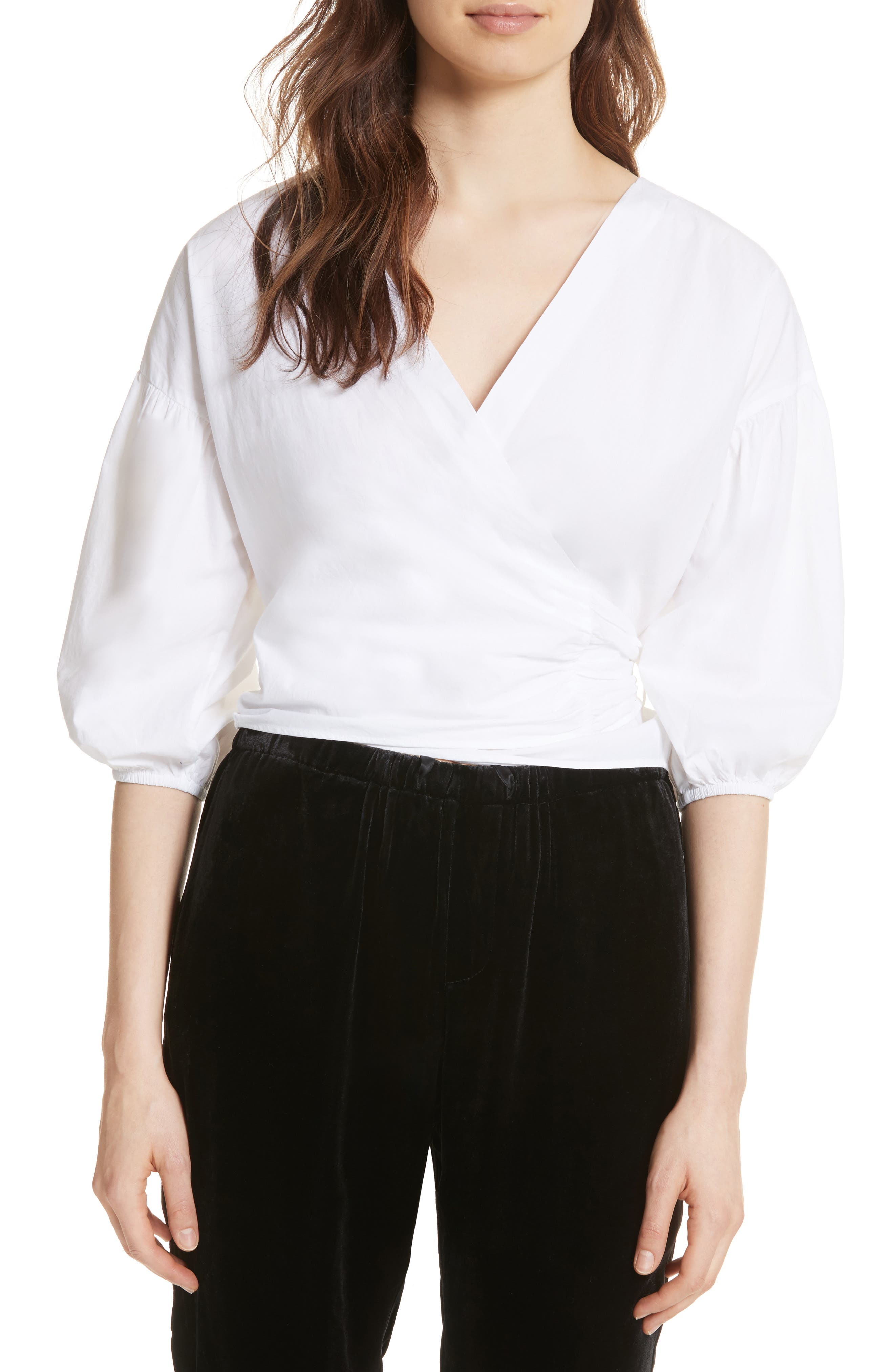 Hausu Bow Back Blouse,                         Main,                         color, Clean White
