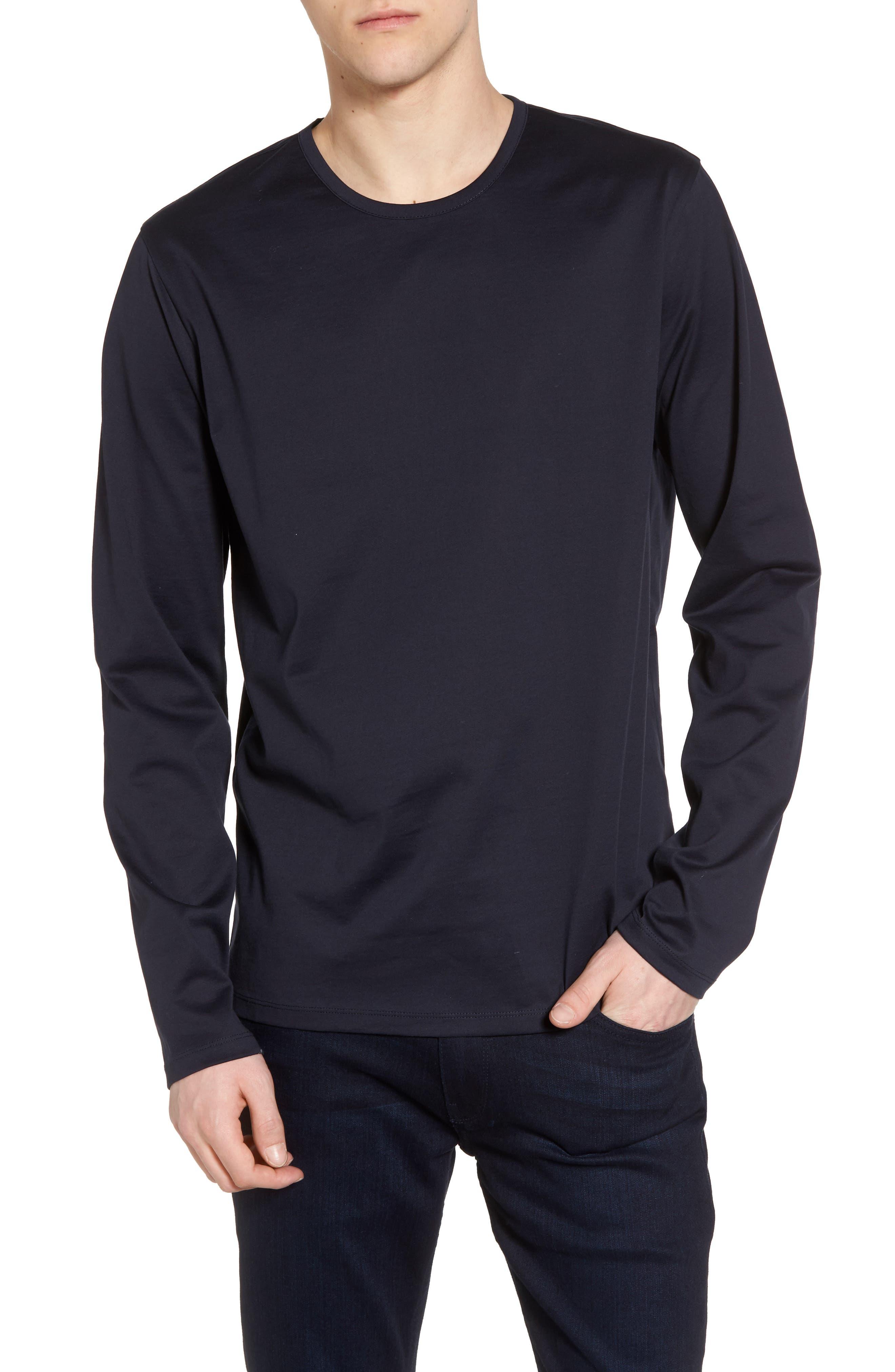 Mercerized Cotton Crewneck Long Sleeve T-Shirt,                         Main,                         color, Navy Night