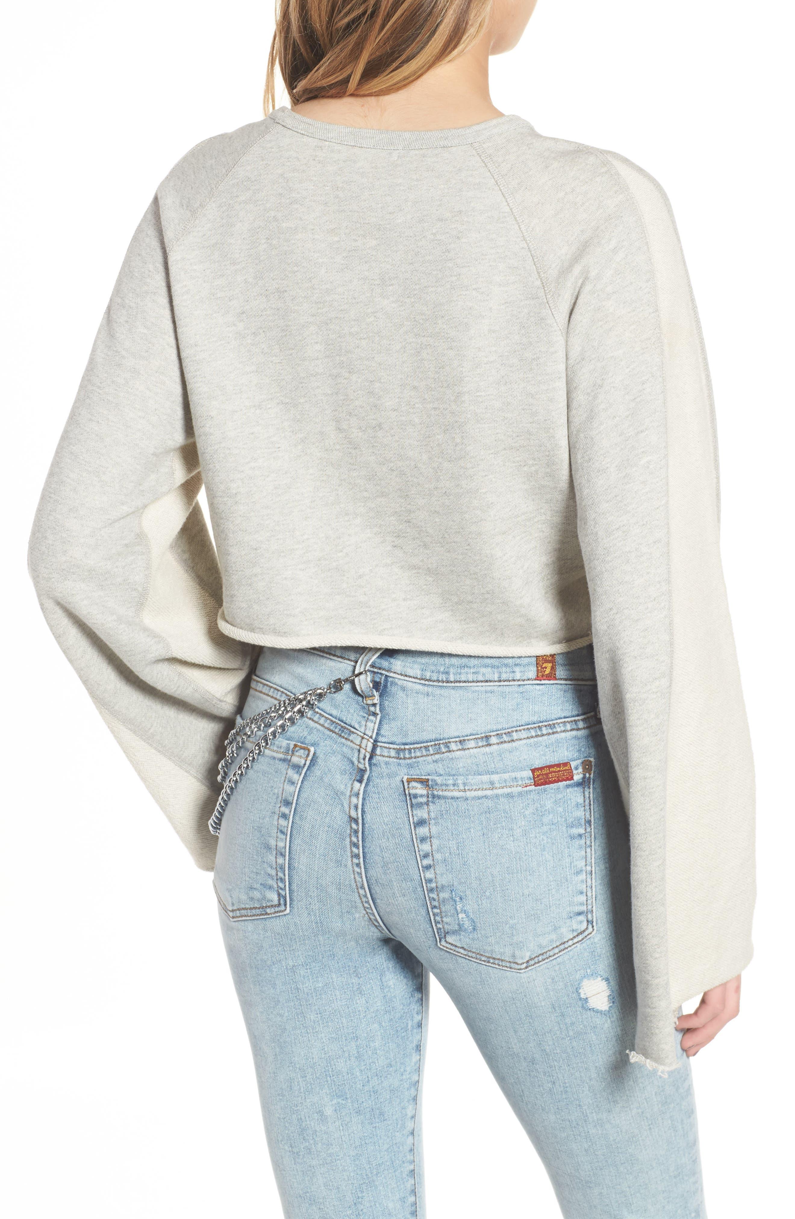Flare Sleeve Crop Sweatshirt,                             Alternate thumbnail 2, color,                             Heather Grey