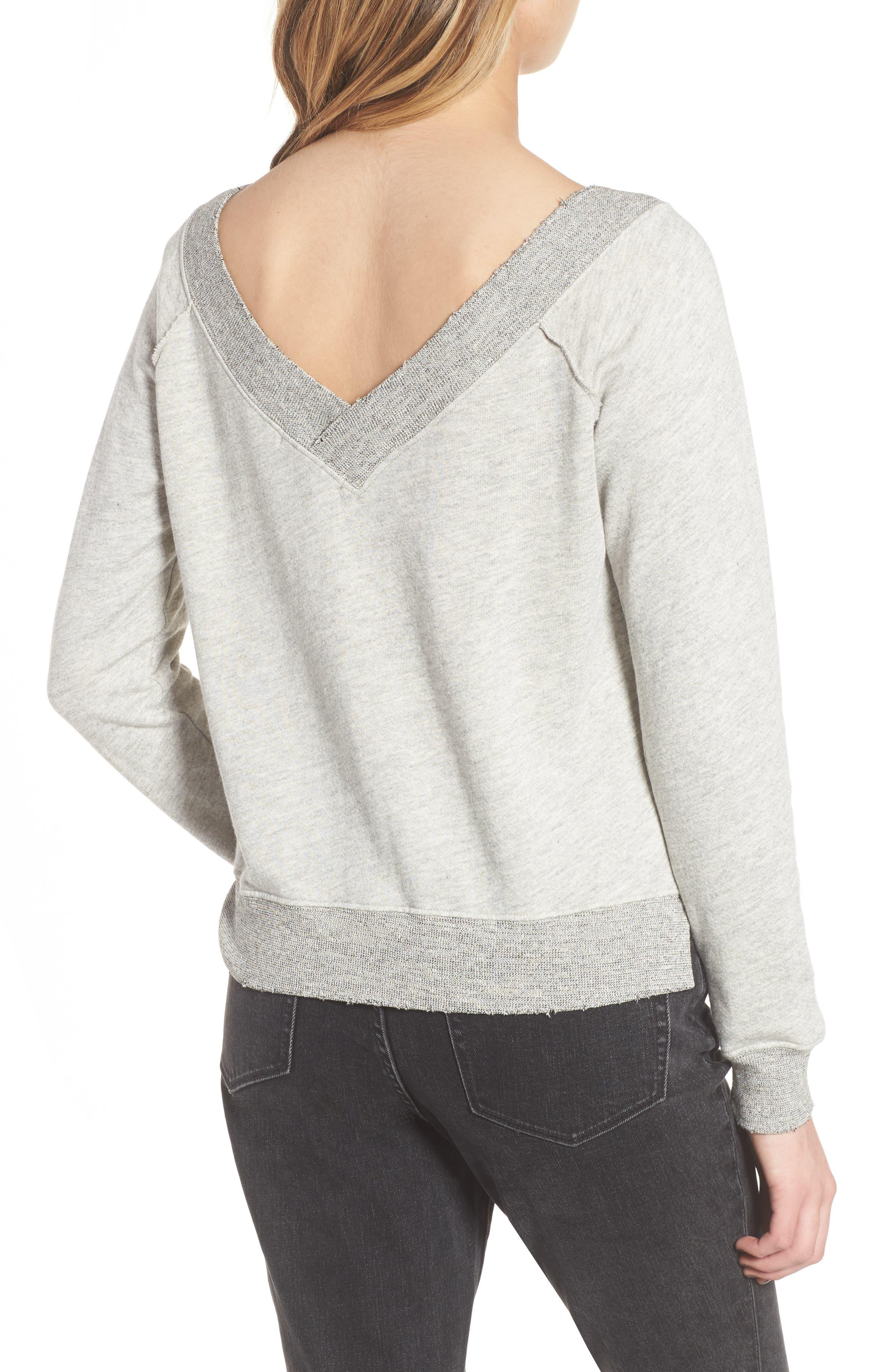 Mayer V-Neck Sweatshirt,                             Alternate thumbnail 2, color,                             Heather Grey