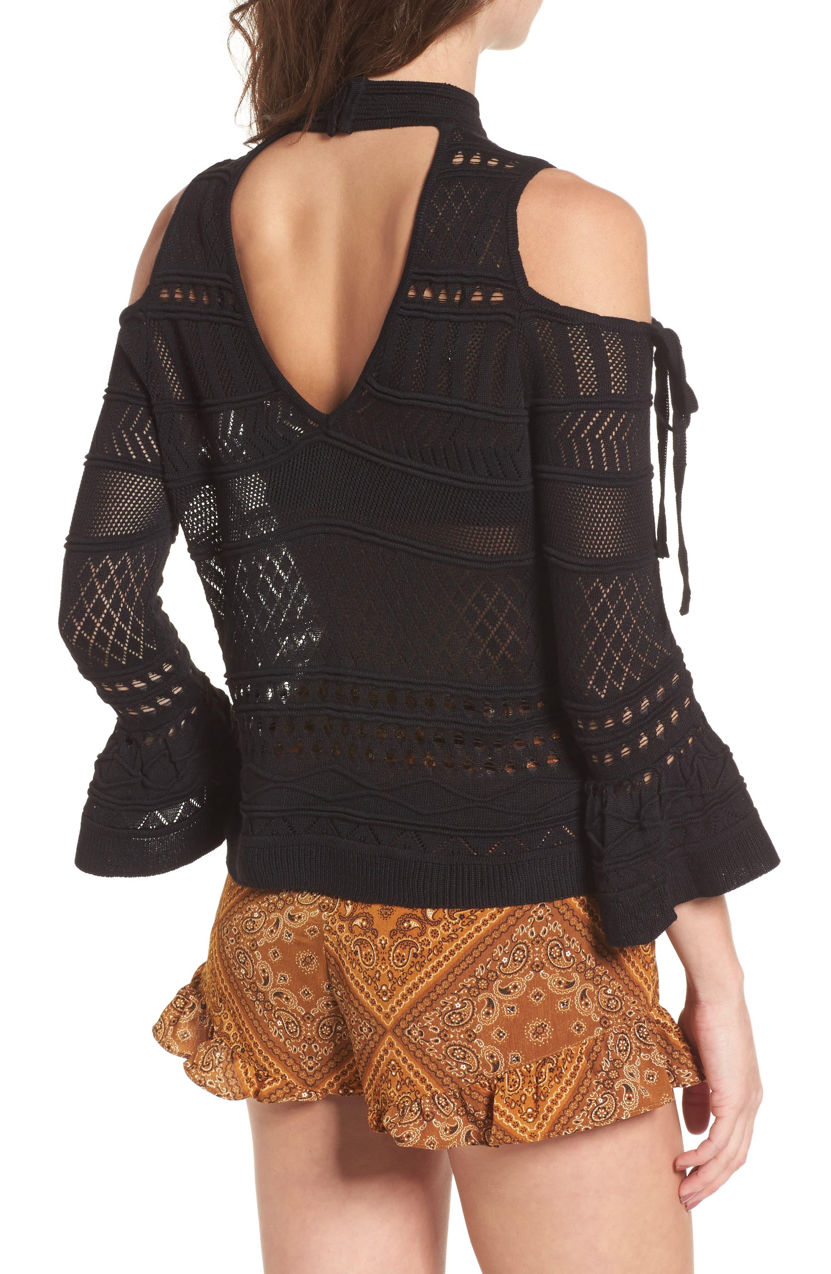 Alternate Image 2  - Lira Clothing Annabel Cold Shoulder Pointelle Sweater