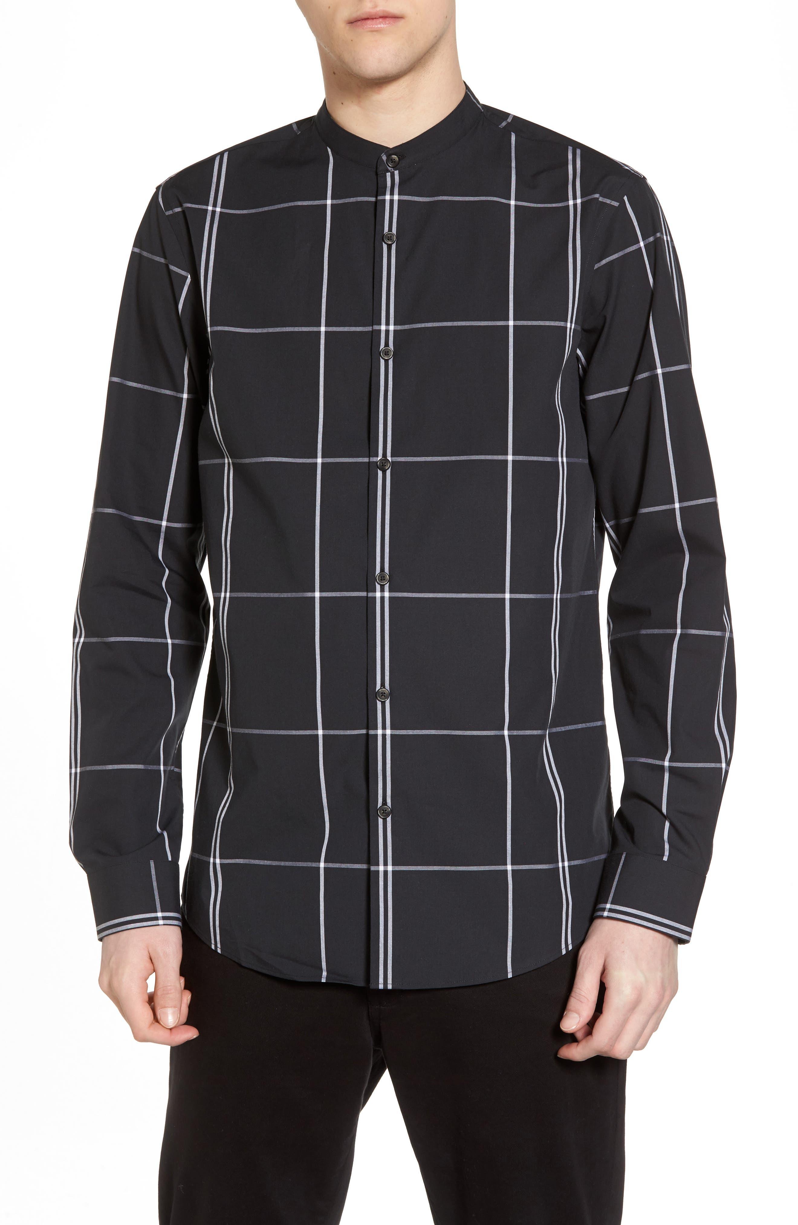 Trim Fit Windowpane Sport Shirt,                         Main,                         color, Black Exploded Pane