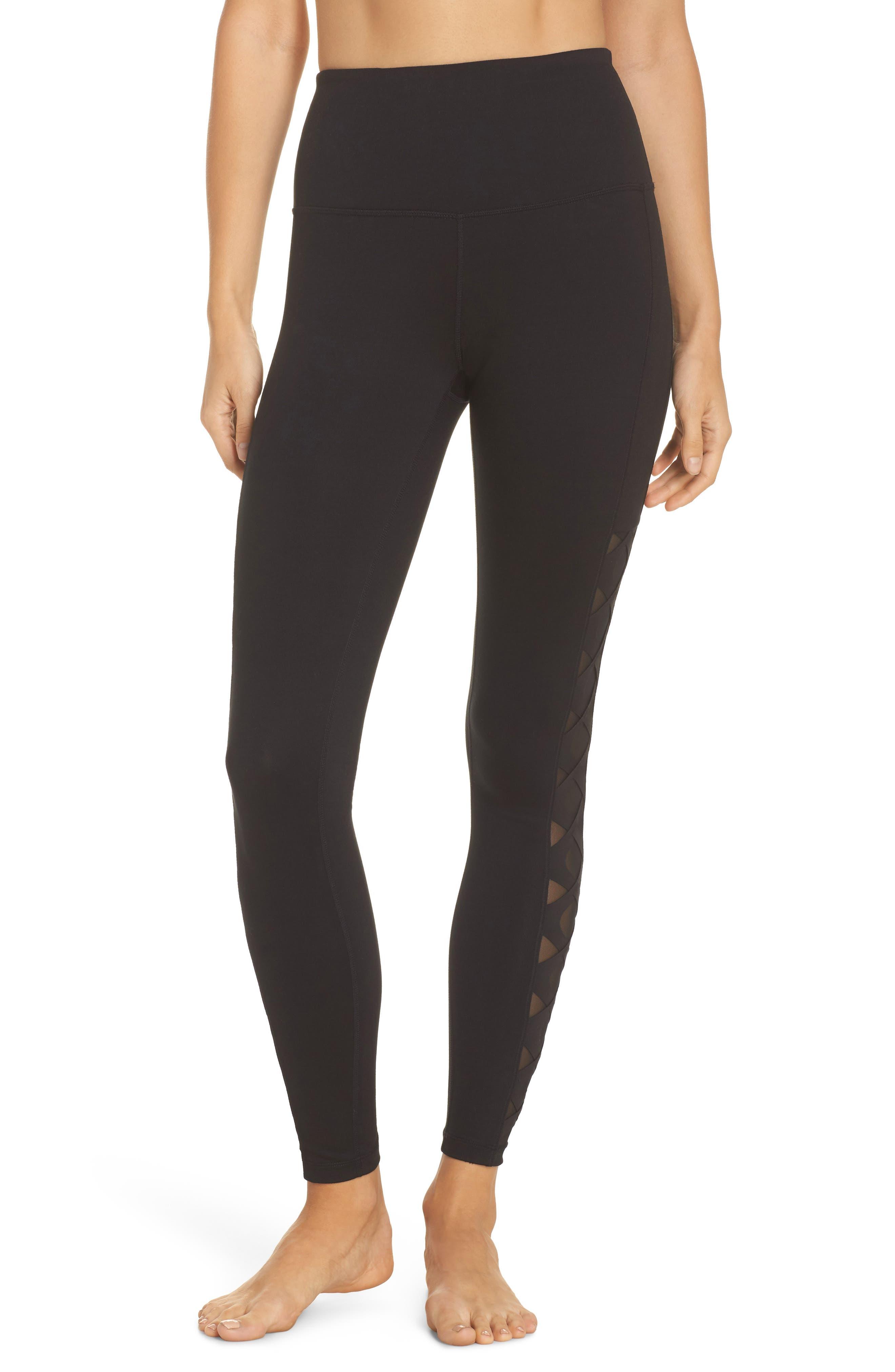 Laser Cut High Waist Leggings,                         Main,                         color, Black