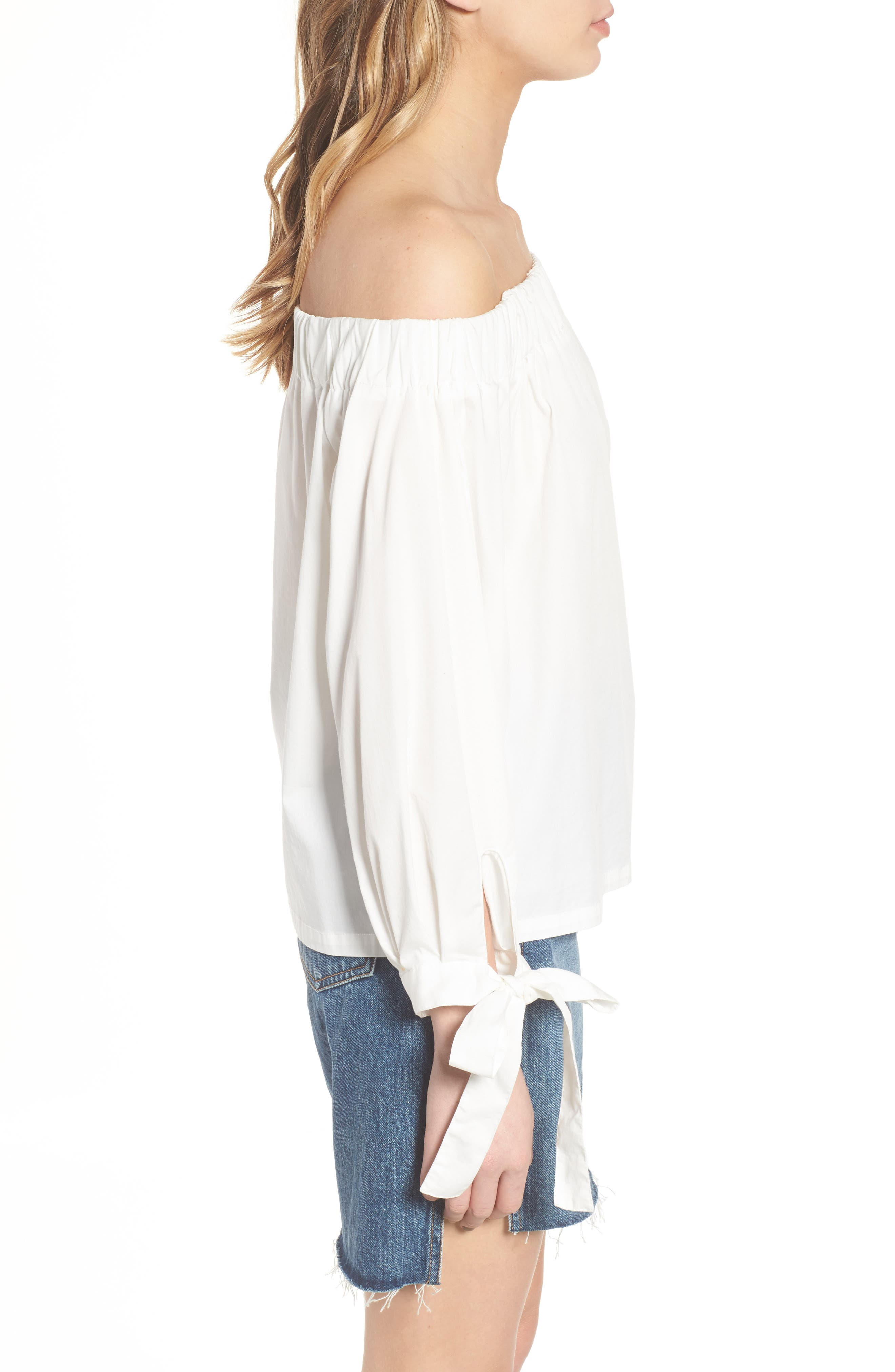 Off the Shoulder Top,                             Alternate thumbnail 3, color,                             White