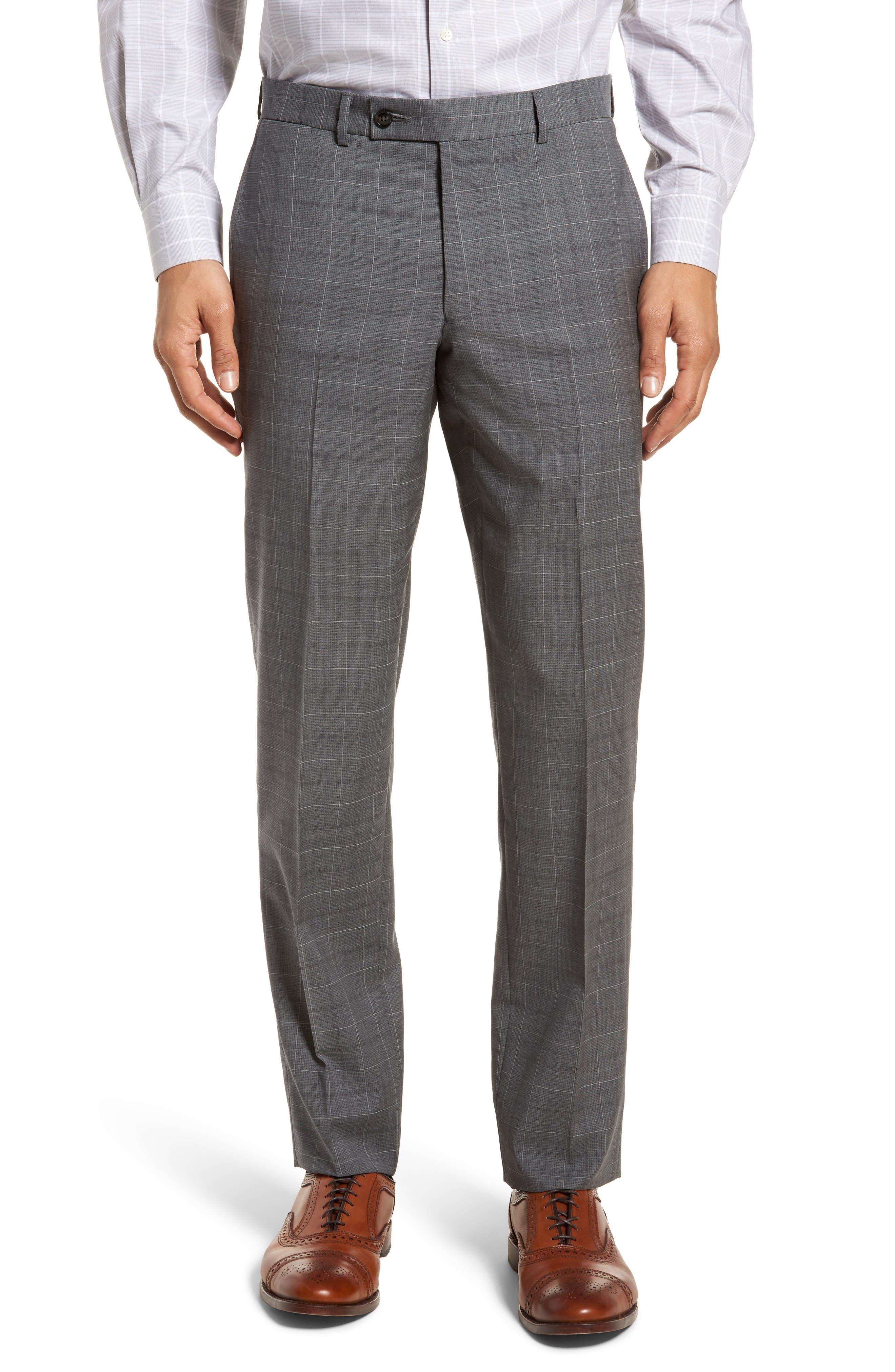 Jay Trim Fit Plaid Wool Suit,                             Alternate thumbnail 6, color,                             Grey