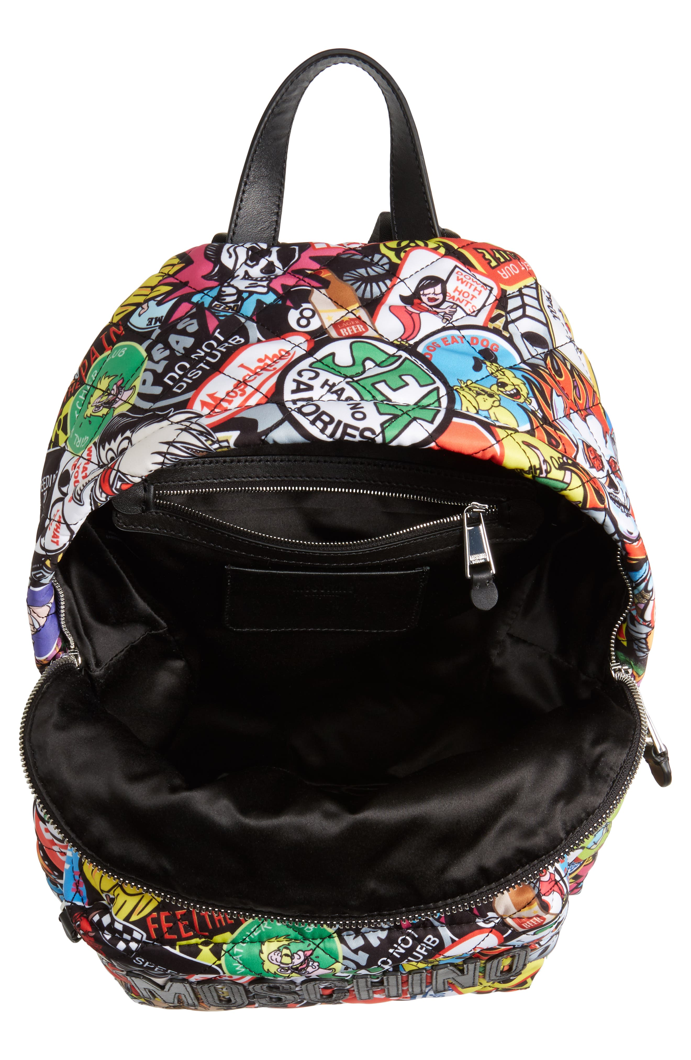 Alternate Image 4  - Moschino Patch Print Quilted Nylon Backpack