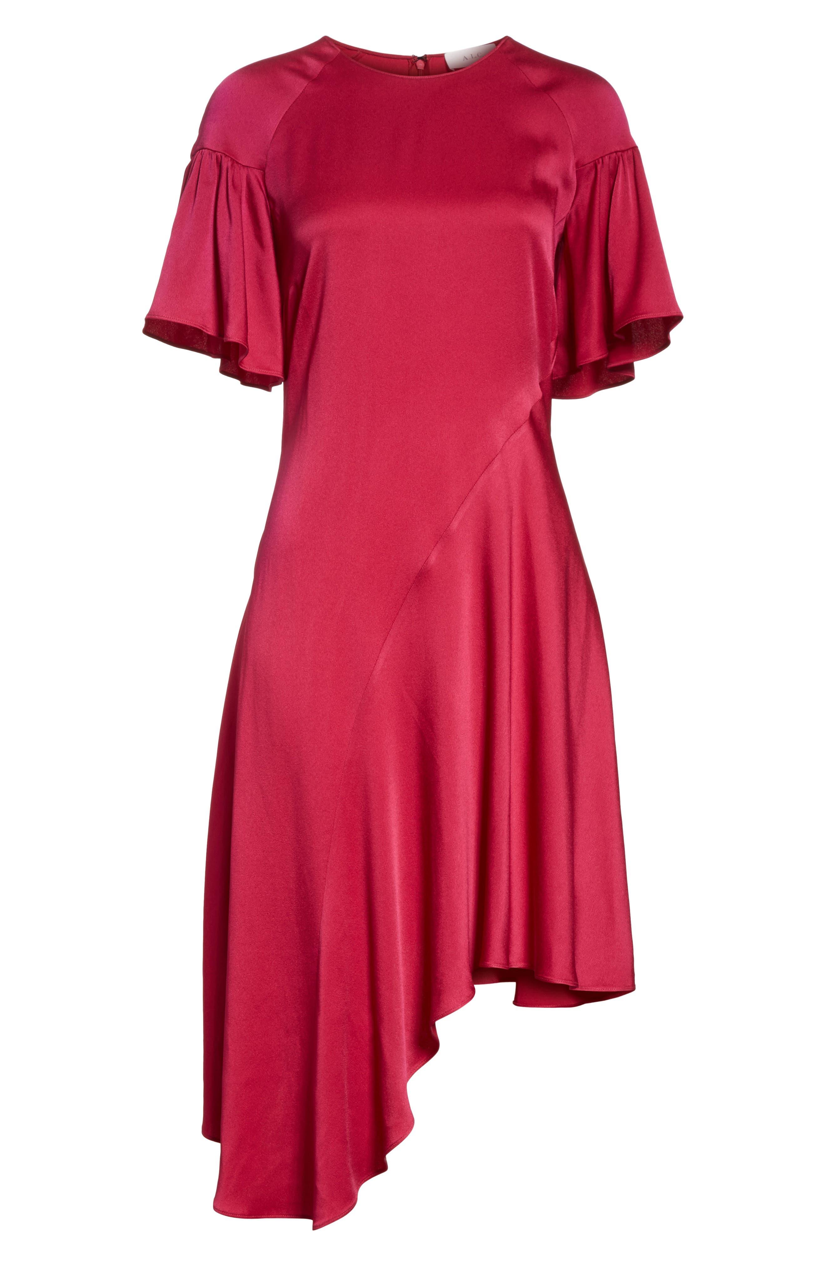 Tilly Asymmetrical Dress,                             Alternate thumbnail 6, color,                             Berry
