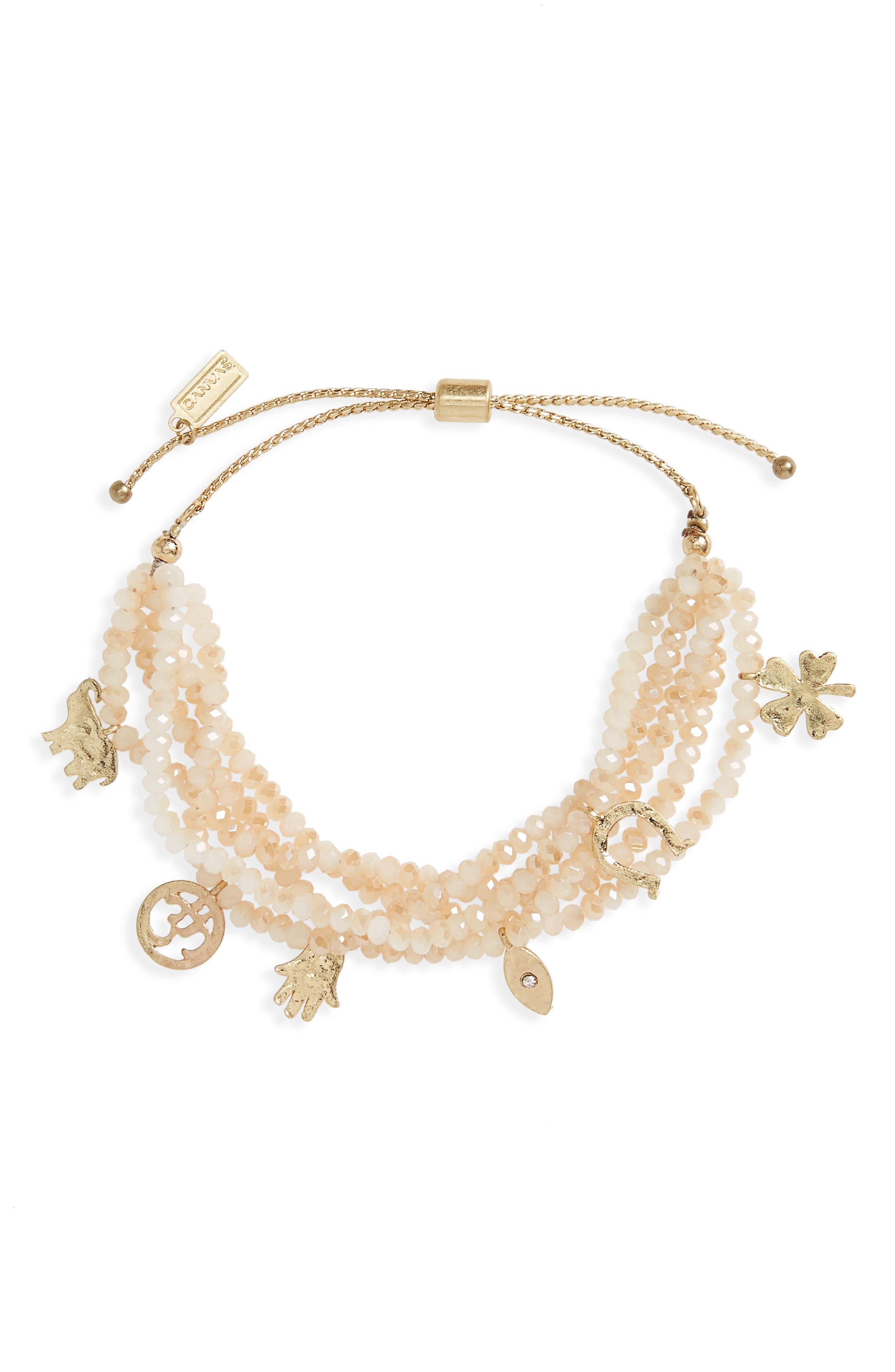 Main Image - Canvas Beaded Charm Bracelet