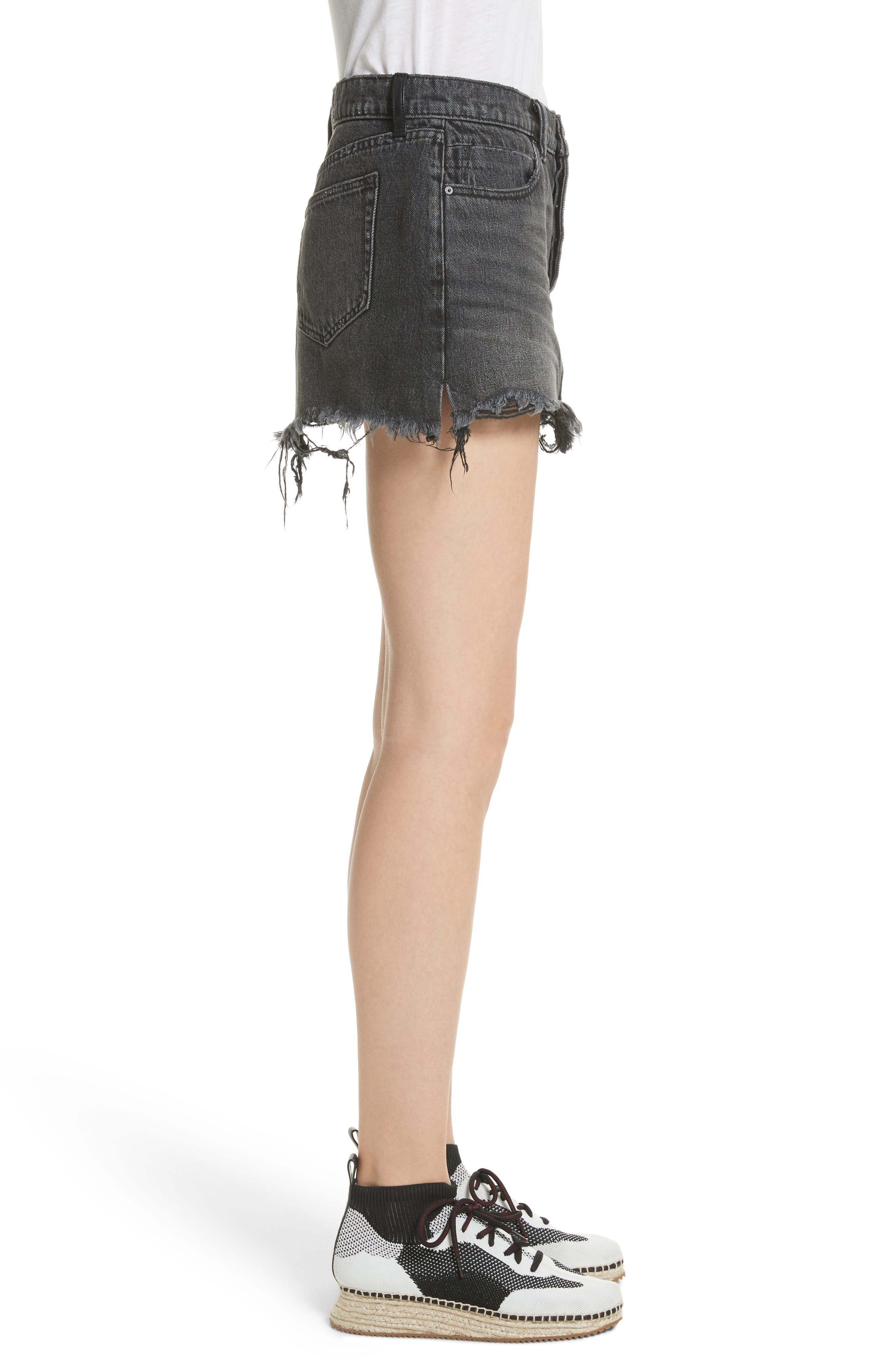 Alternate Image 3  - T by Alexander Wang Destroyed Hem Denim Skirt