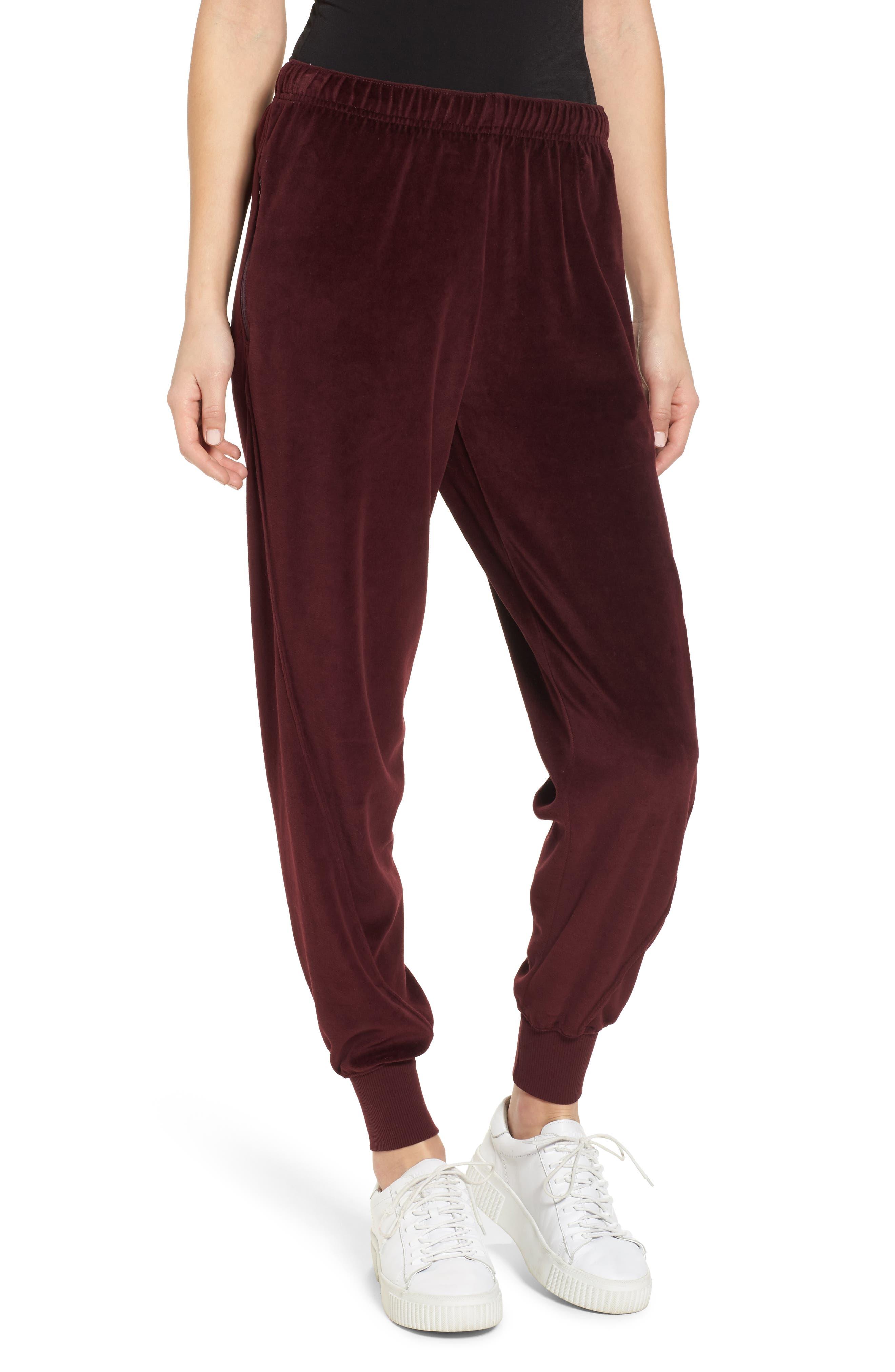Velour Jogger Pants,                         Main,                         color, Good Burgundy