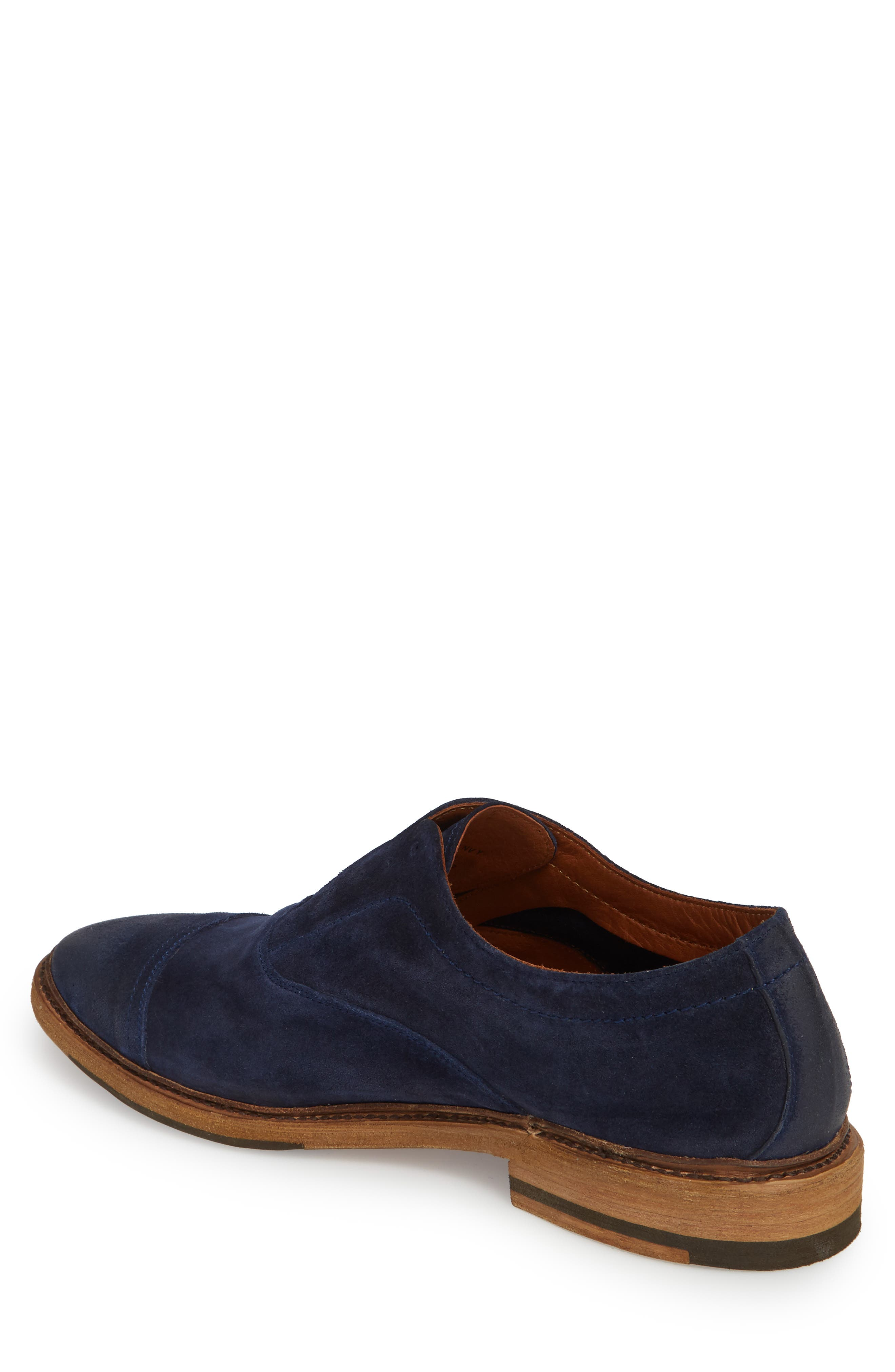 Paul Bal Cap Toe Oxford,                             Alternate thumbnail 2, color,                             Navy Suede