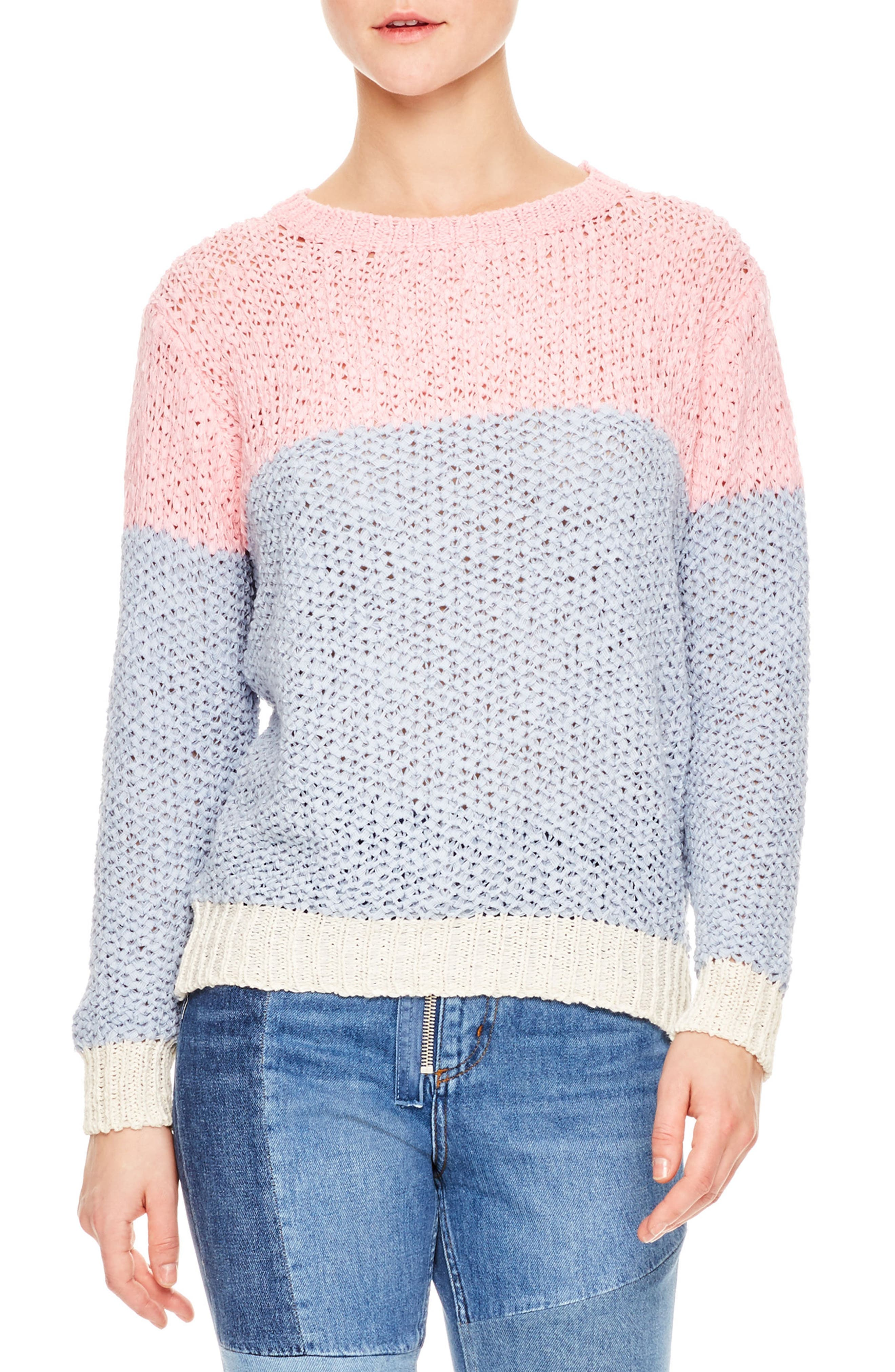 Malabar Colorblock Knit Sweater,                             Main thumbnail 1, color,                             Malabar